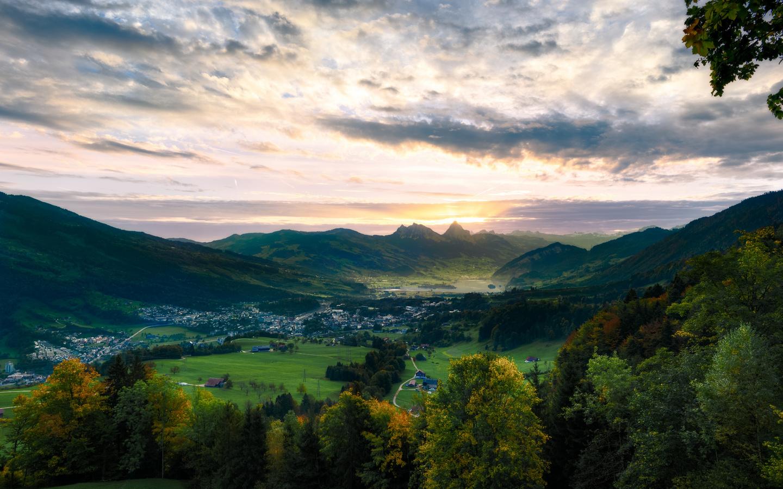 швейцария, горы, озеро, небо, lake lauerz, arth-goldau, долина, деревья, альпы, природа