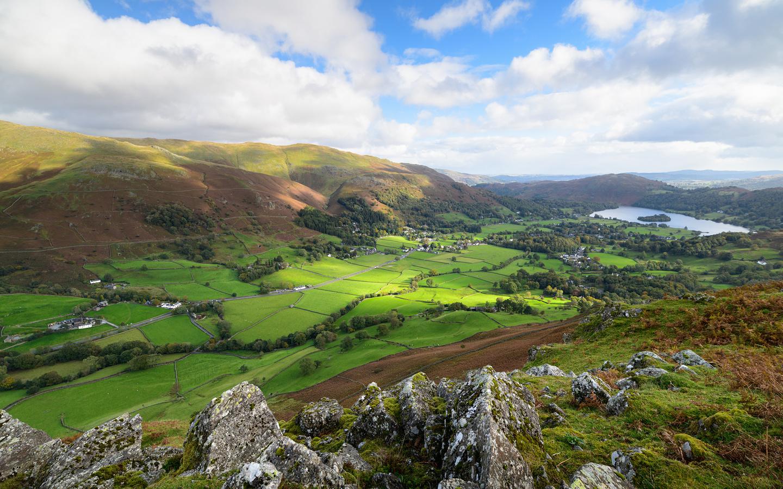 англия, горы, озеро, луг, lake district, cumbria, облака, скала, холмы, природа