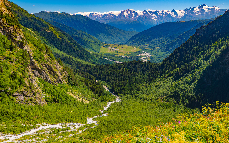 грузия, горы, лес, пейзаж, ushba glacier, mestia, долина, природа
