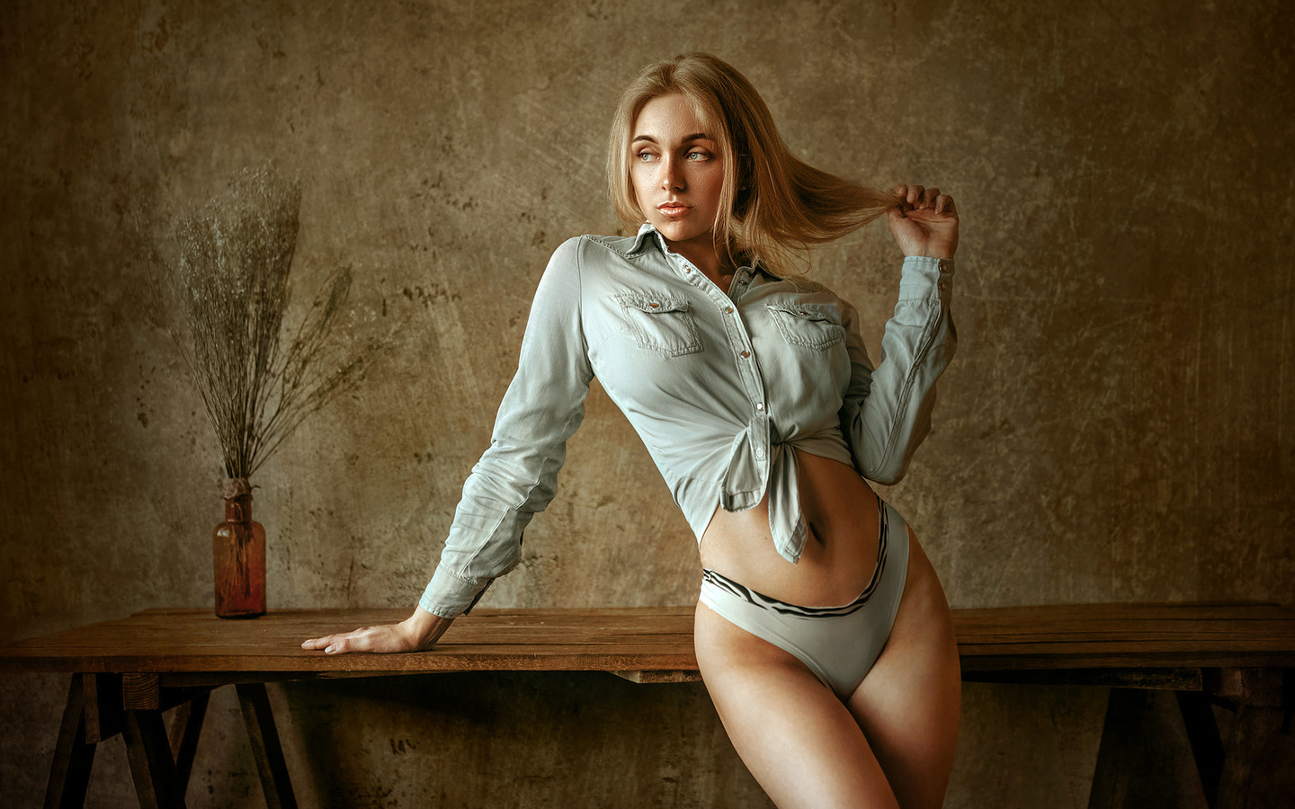 women, blonde, panties, table, belly, brunette, women indoors, wall, shirt, hands in hair, альберт лесной,albert lesnoy
