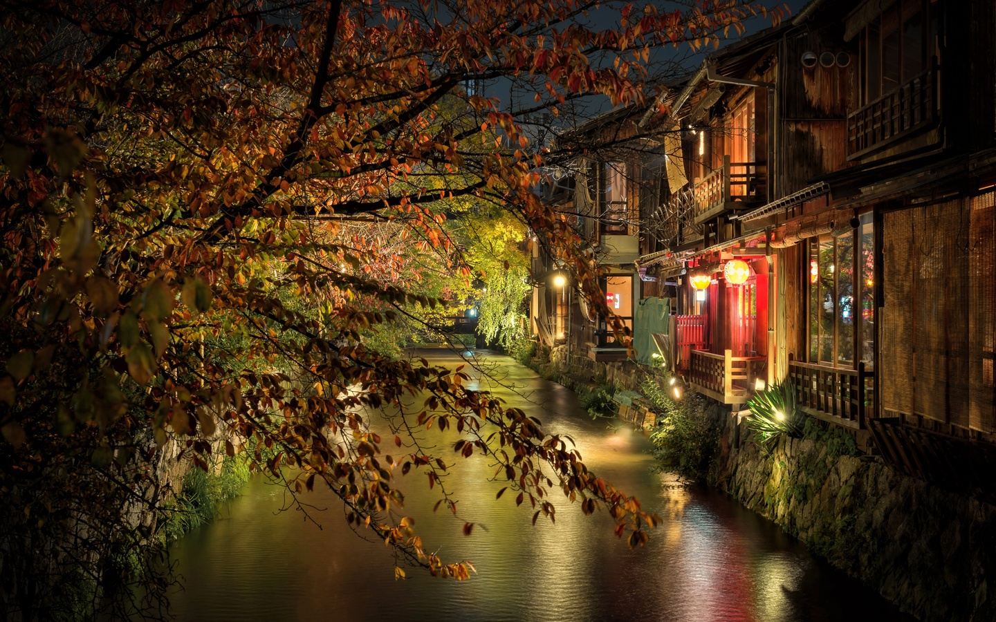 kyoto, evening, night, kyoto streets, japanese city, lights, japan