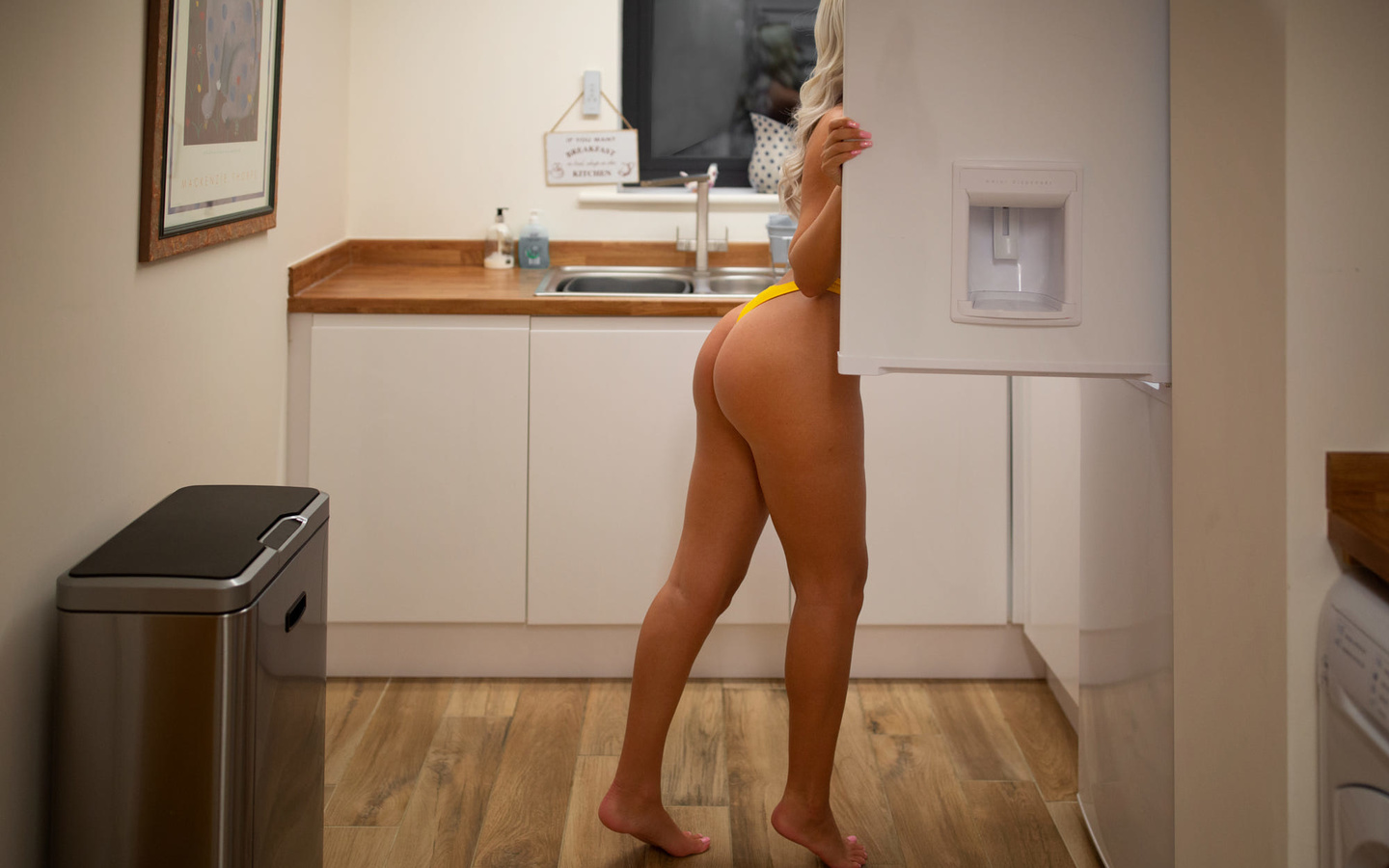 women, ass, brunette, blonde, fridge, kitchen, women indoors, pink nails, yellow panties