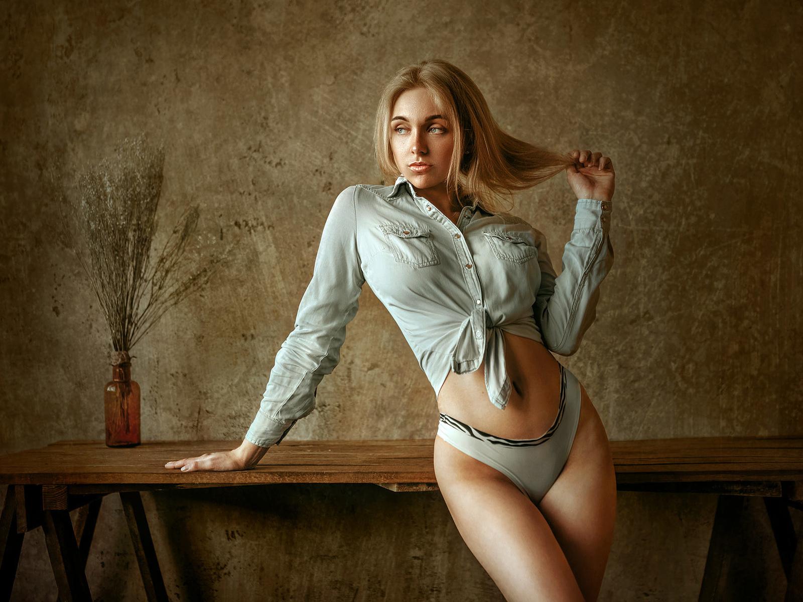 women, blonde, panties, table, belly, brunette, women indoors, wall, shirt, hands in hair, альберт лесной,albert lesnoy