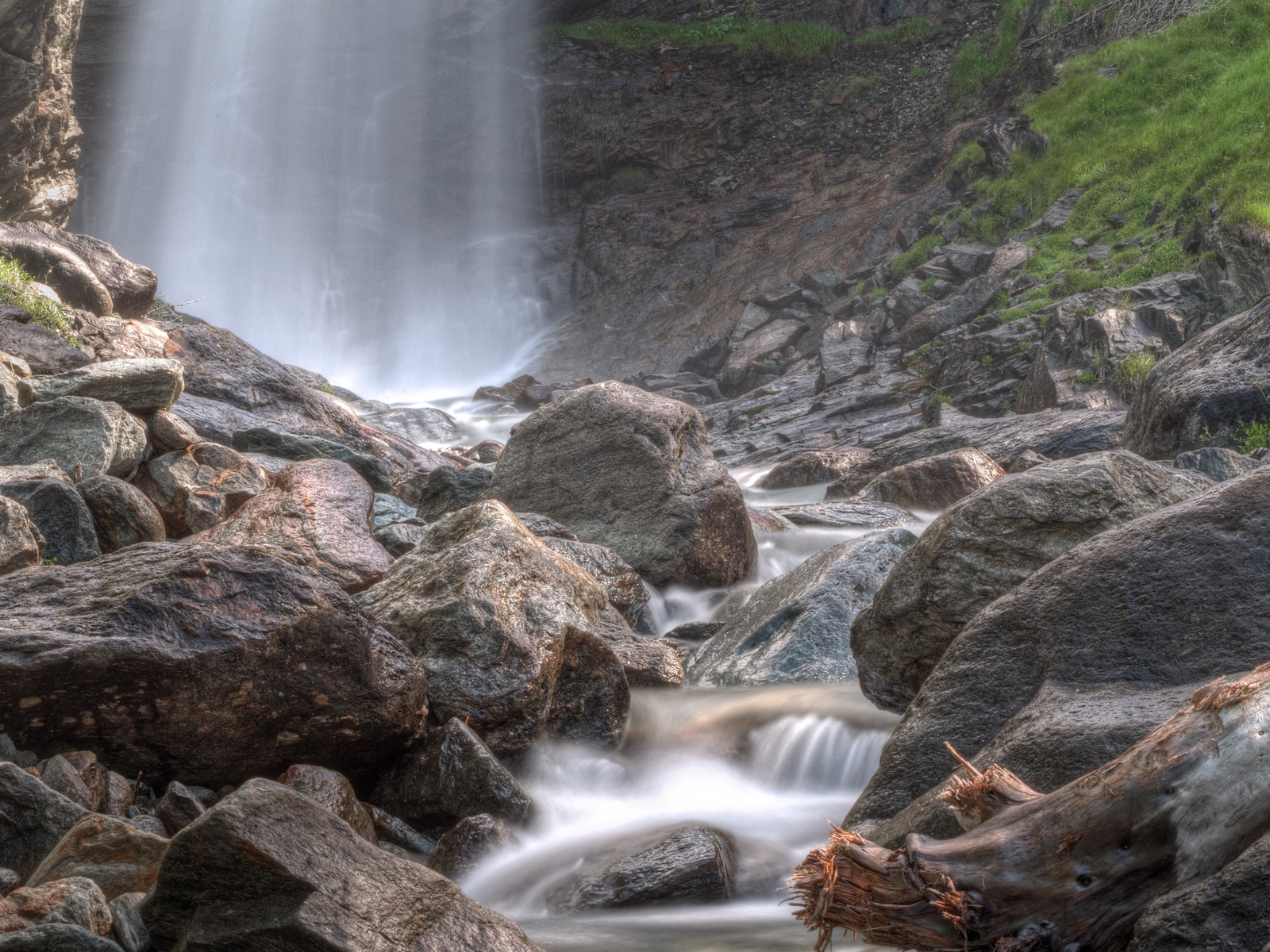 камни, ручей, водопад
