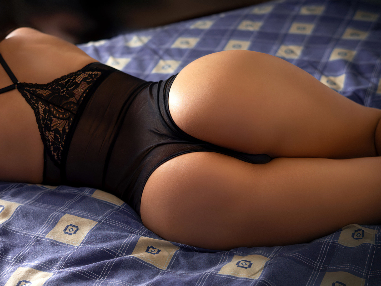 women, ass, brunette, back, in bed, bodysuit, women indoors, black lingerie