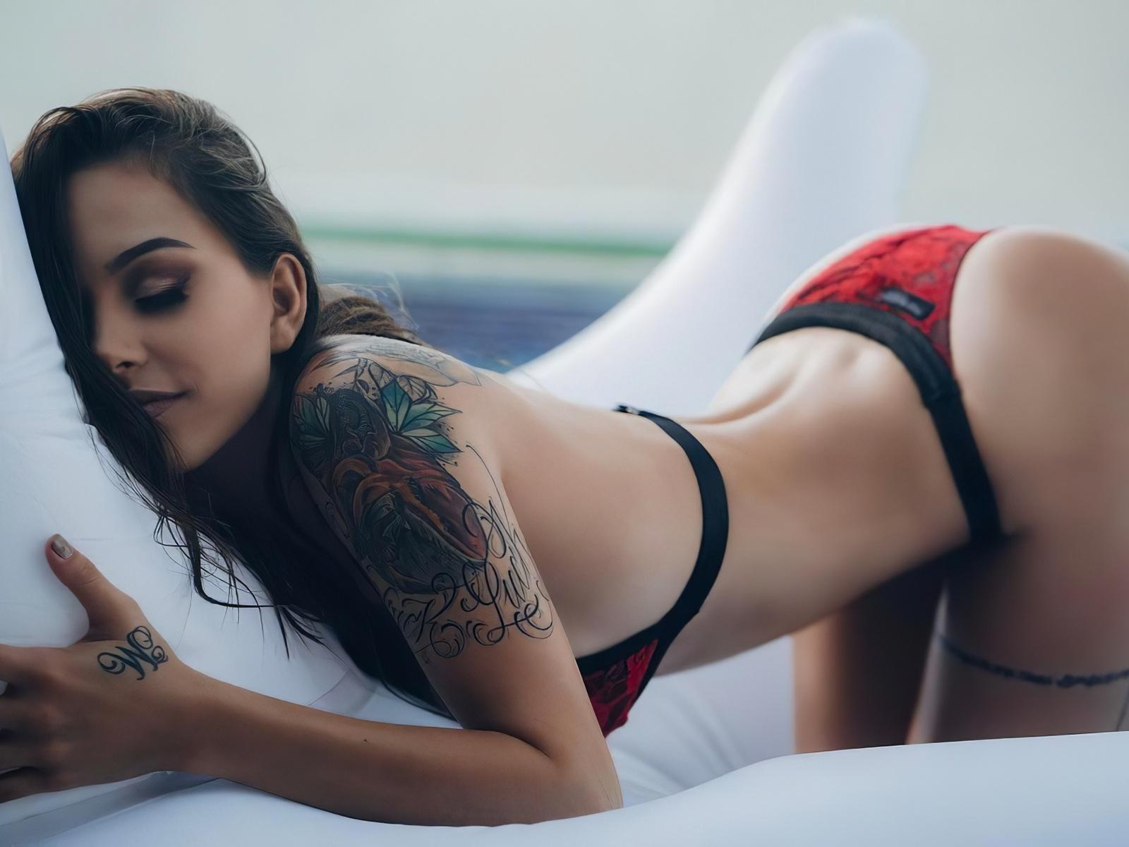 girl, brunette, sexy, woman, cute, window, bed, lingerie, pretty, panties, bra, hot, boobs, ass, tattoo
