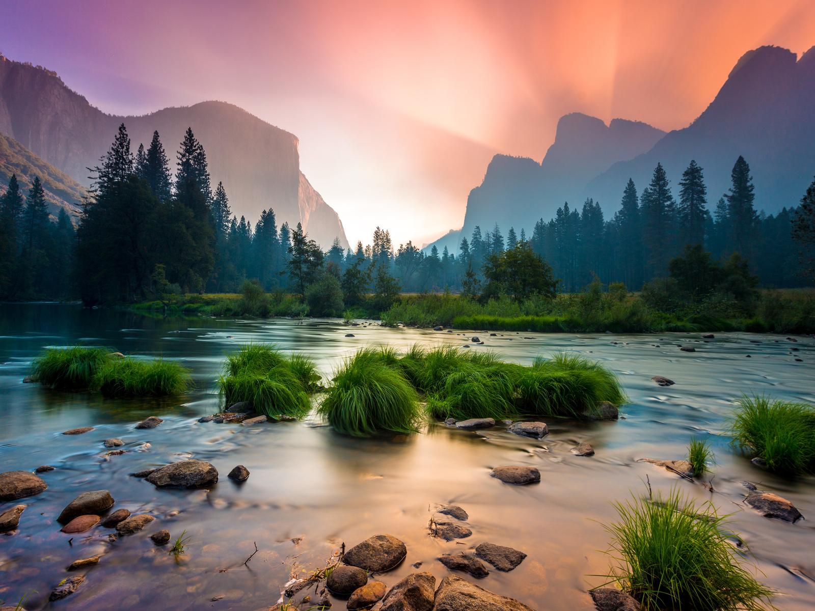 солнце, лучи, пейзаж, горы, природа, река, камни, закат, сша, йосемити, национальный парк, yosemite national park, merced river