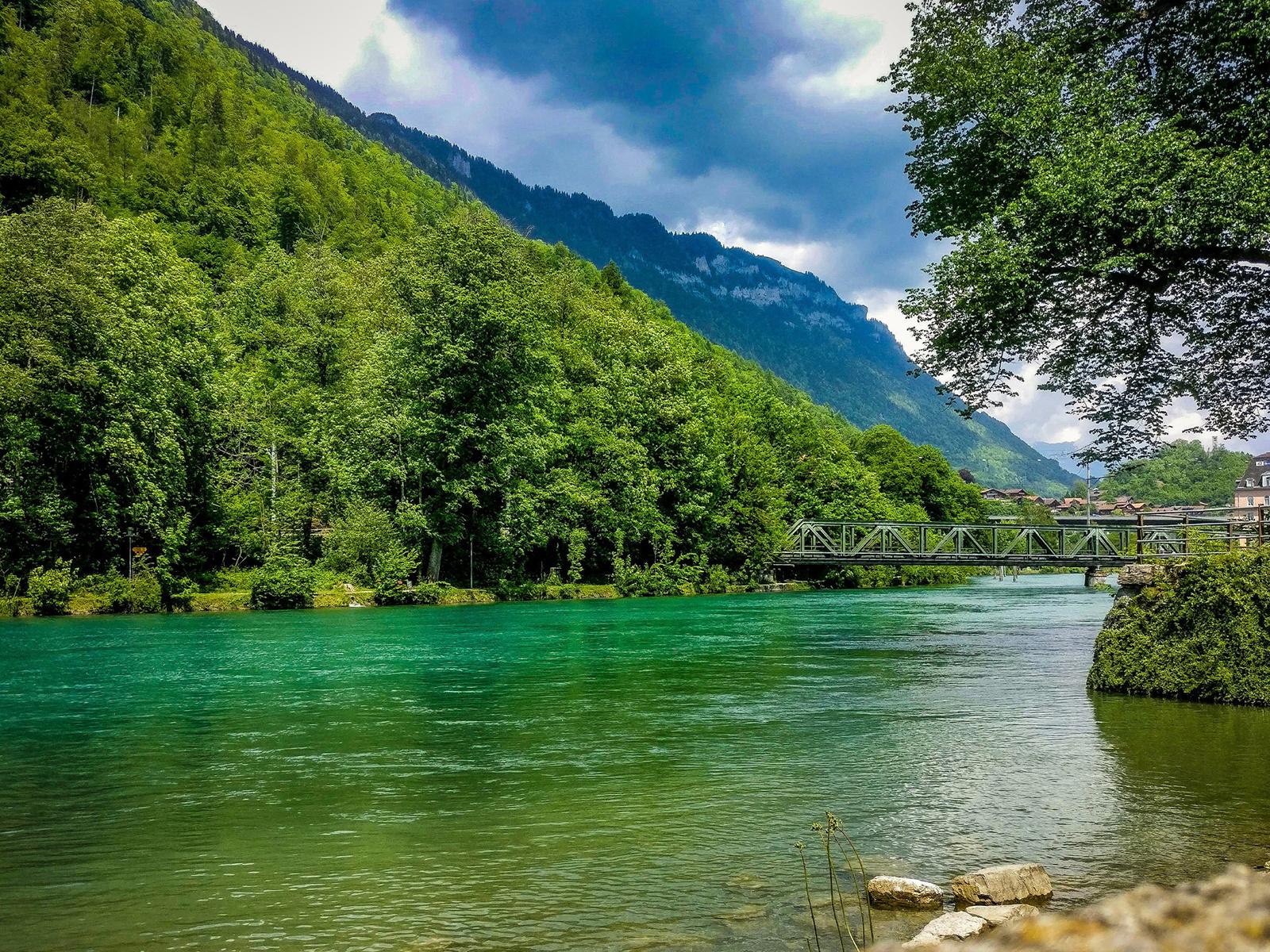 швейцария, озеро, горы, лес, мост, природа