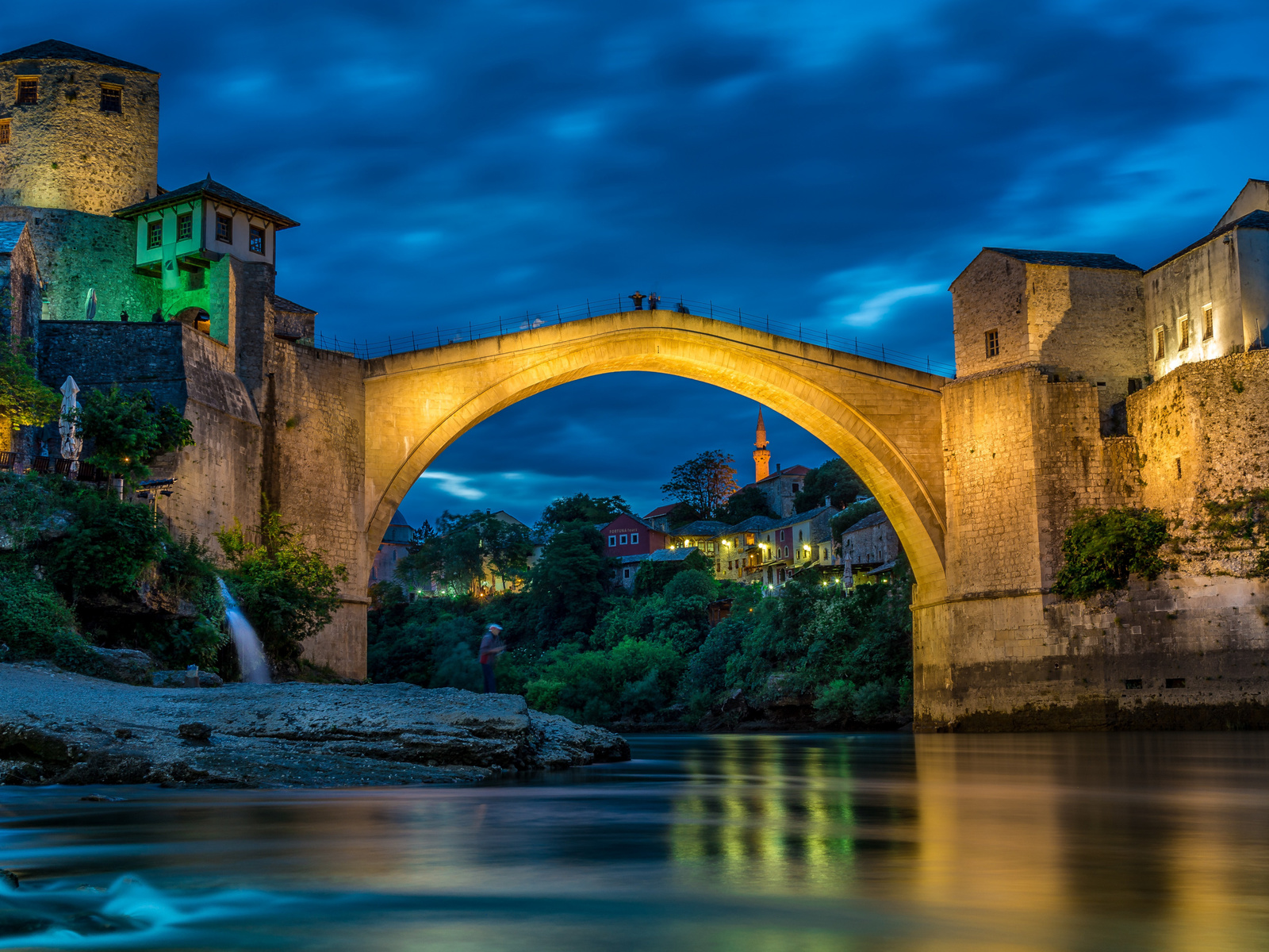 mostar, neretva river, evening, sunset, stone bridge, river, landmark, bosnia and herzegovina