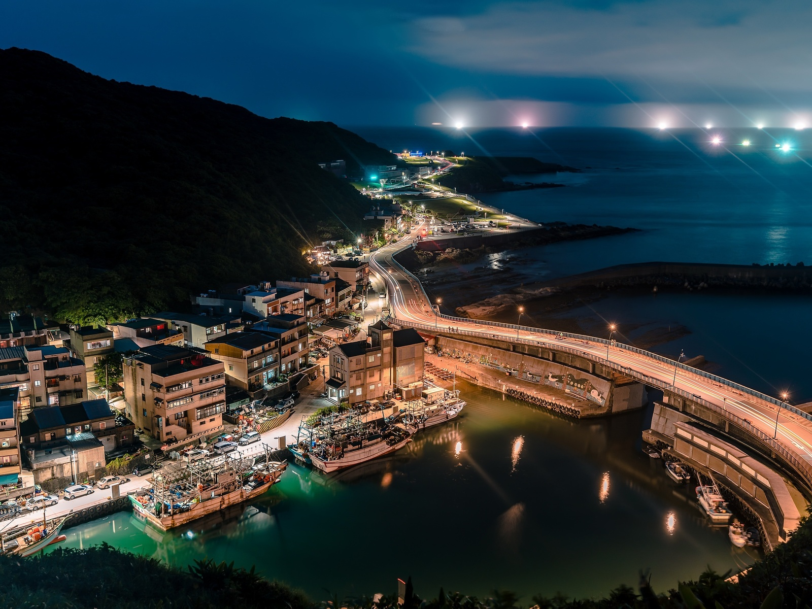 port of keelung, nightscapes, keelung harbor, ocean, asian cities, keelung, taiwan, asia