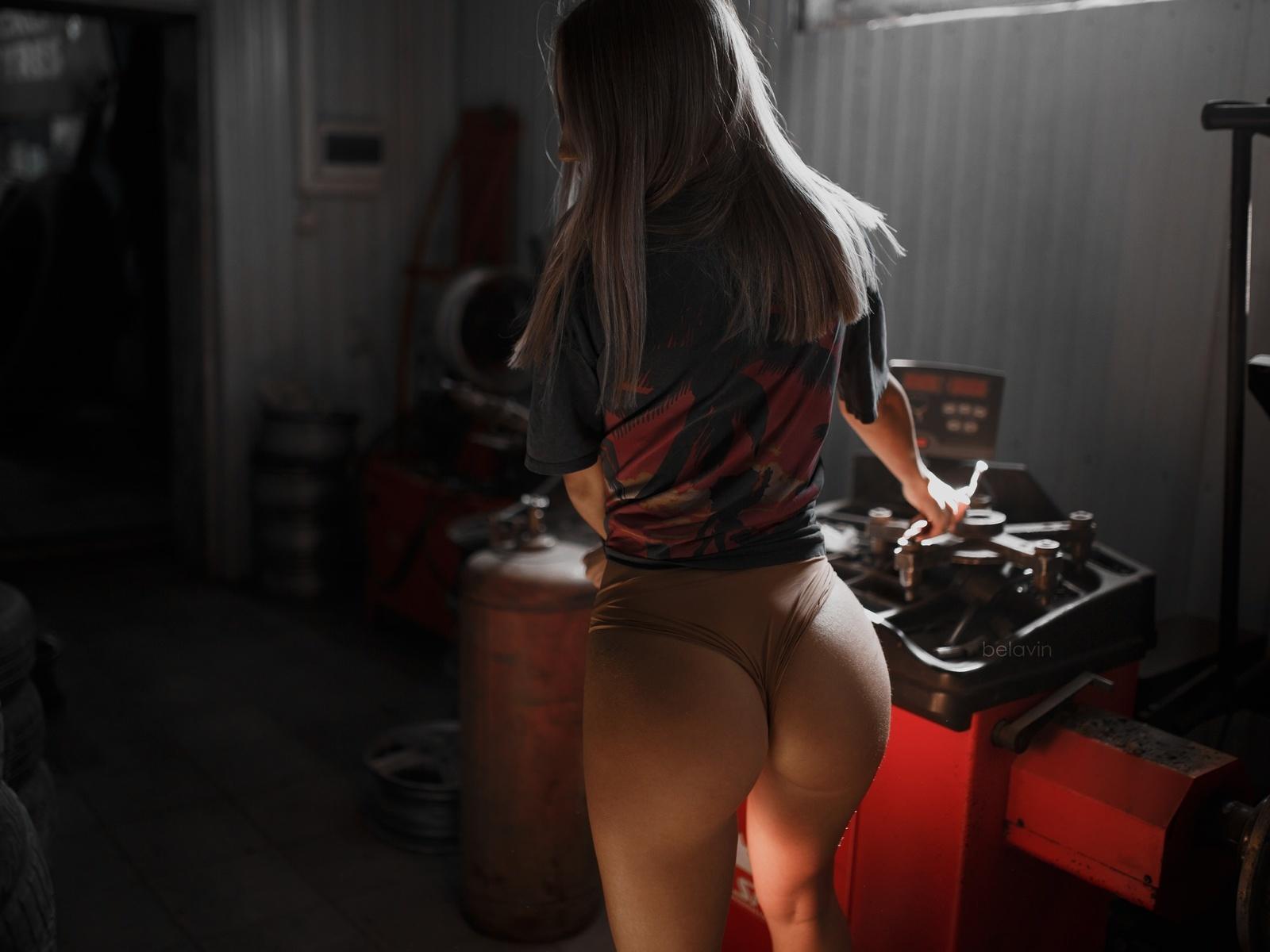 women, alexander belavin, panties, t-shirt, tires, workshop, ass, back, women indoors, brunette