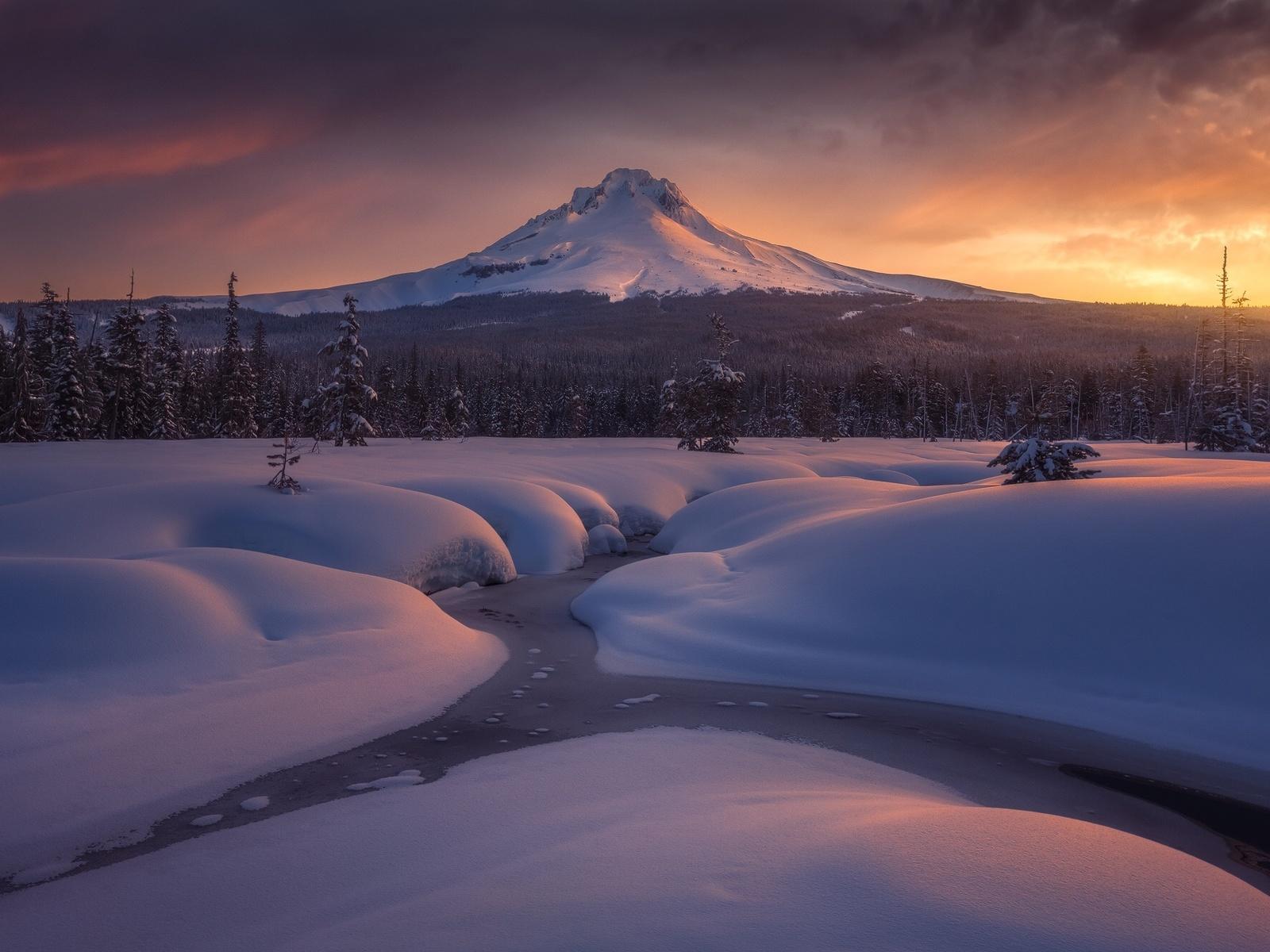 гора, лес, речка, снег, сугробы