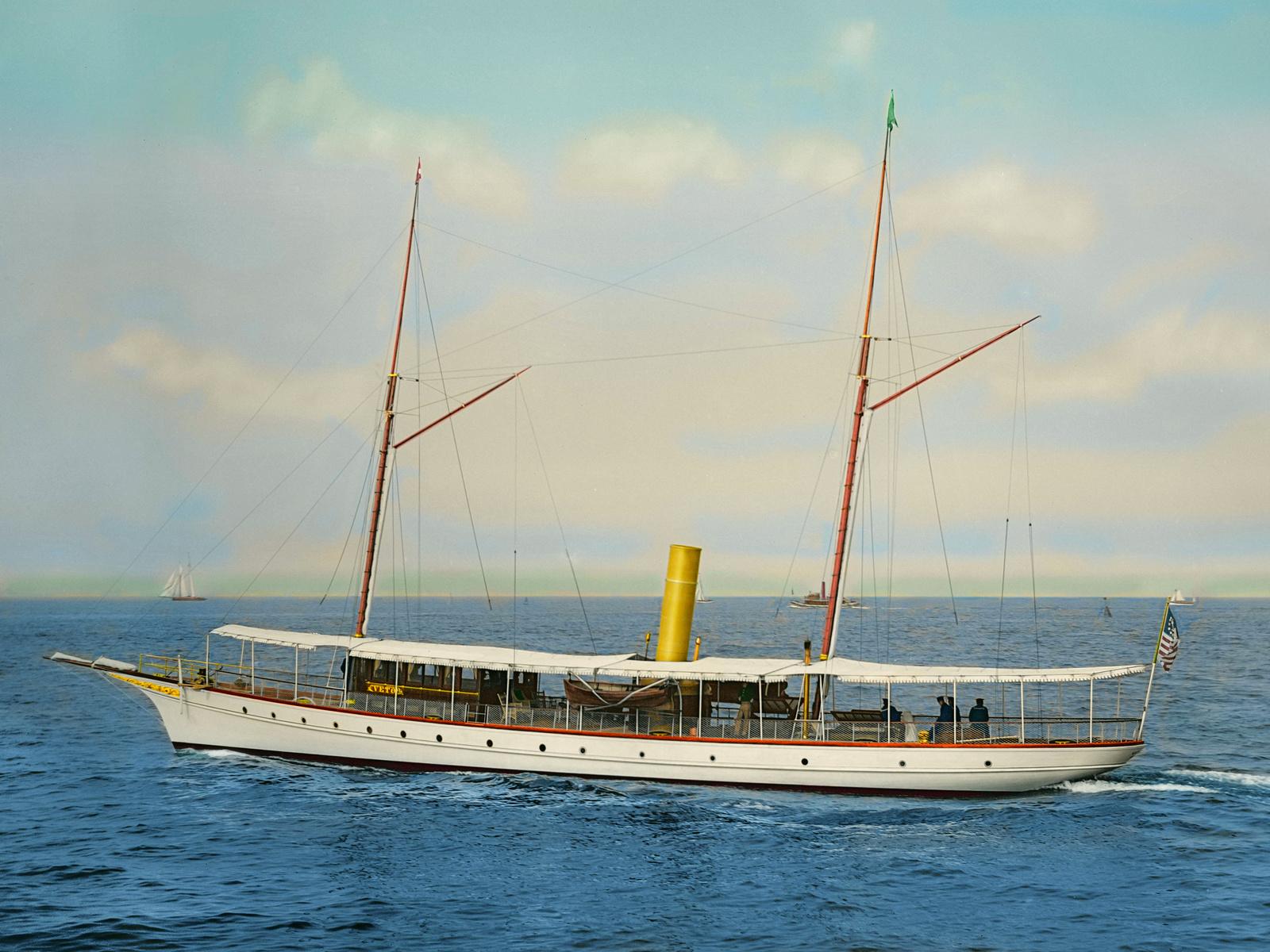 veto, паровая, яхта, 1894, ретро