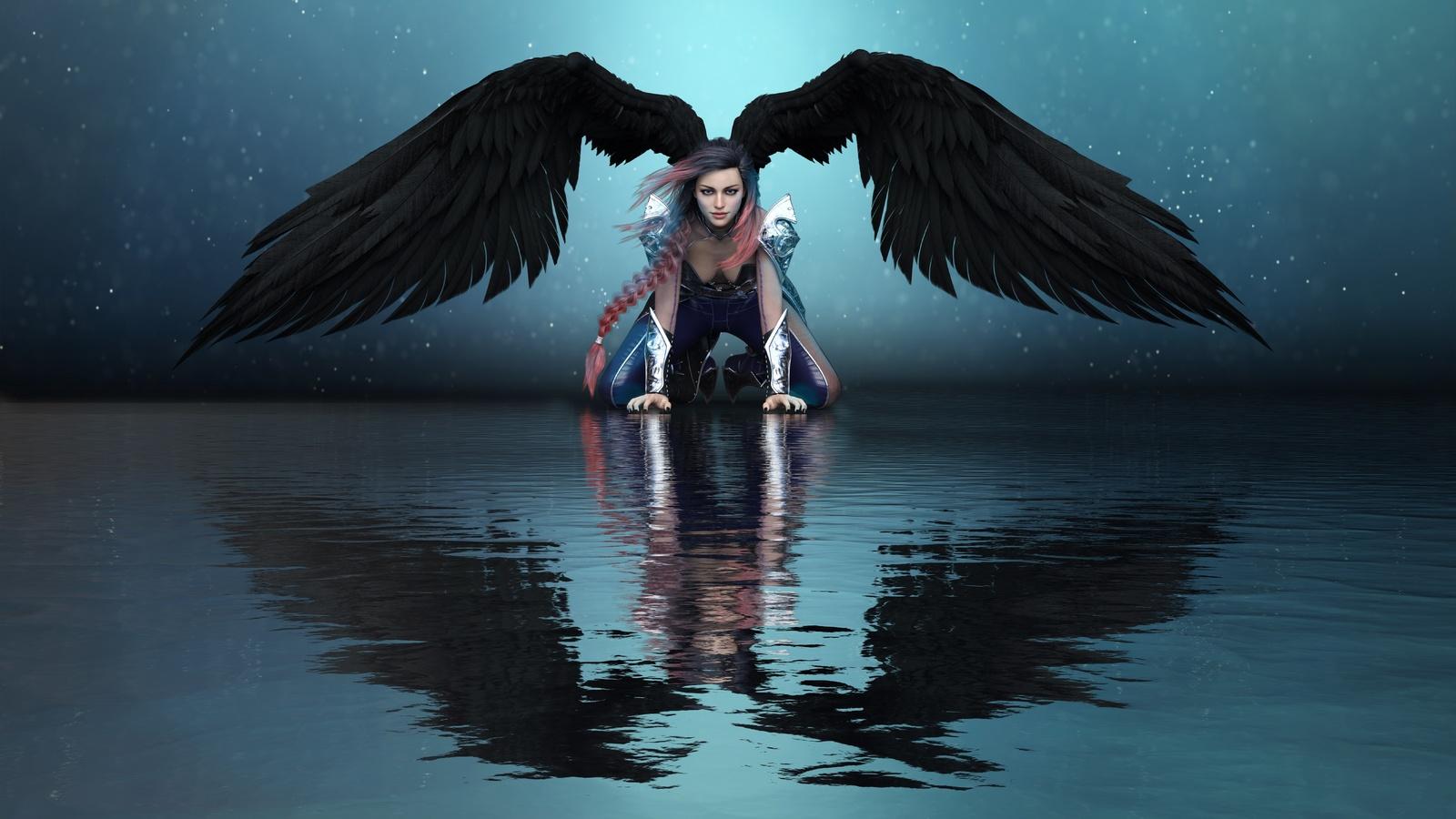 ангел, вода, крылья, отражение, фэнтези