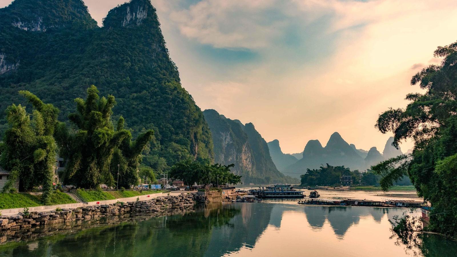 скалы, река, деревья, отражение