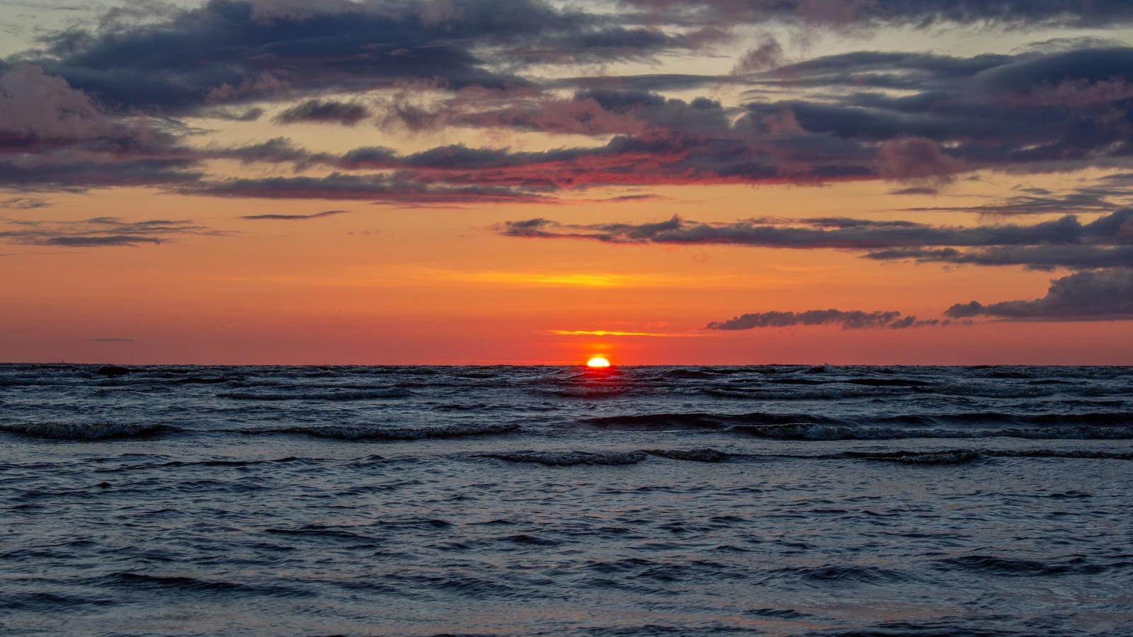 закат, море, горизонт, небо