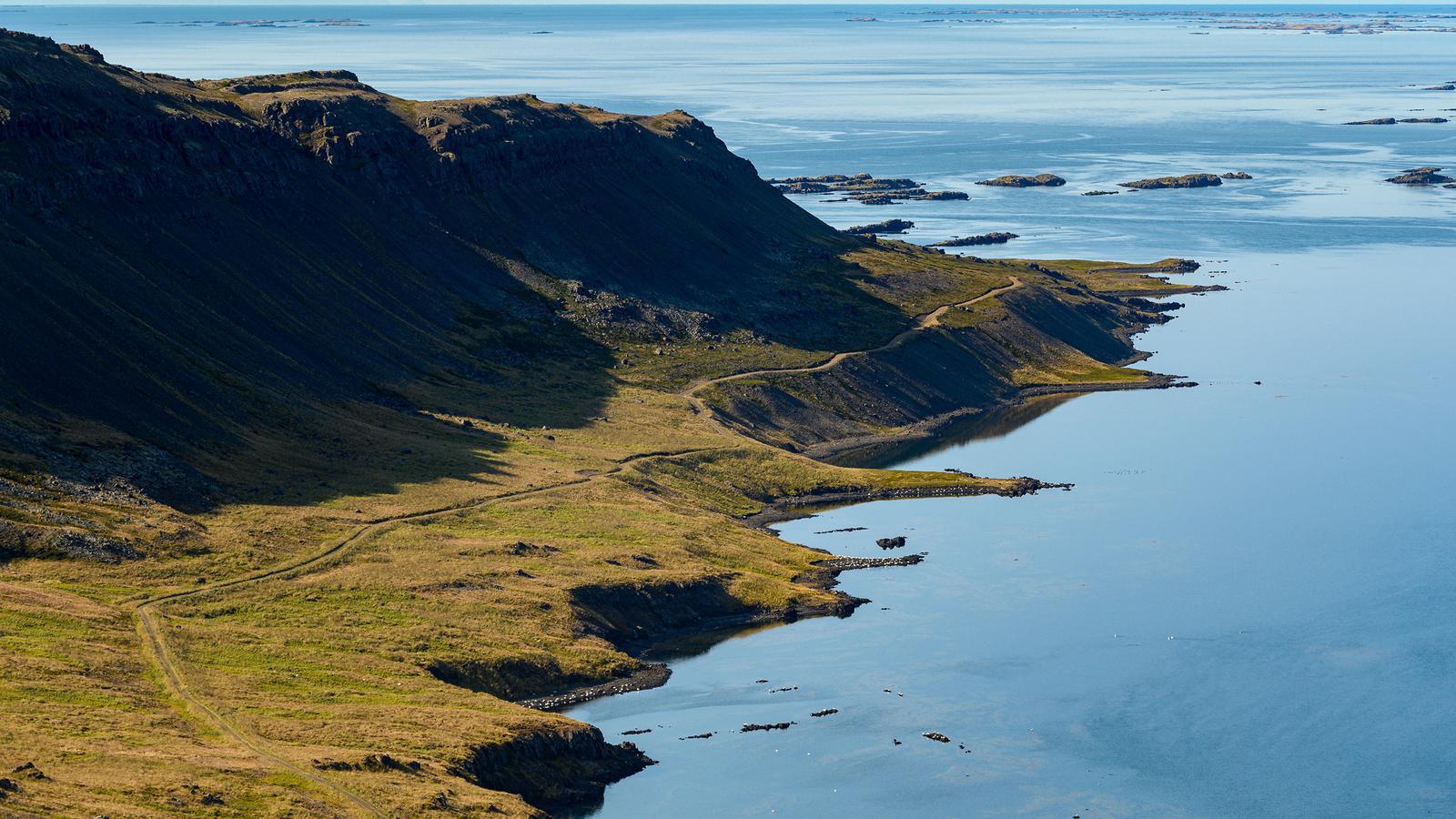 исландия, побережье, горы, горизонт, природа
