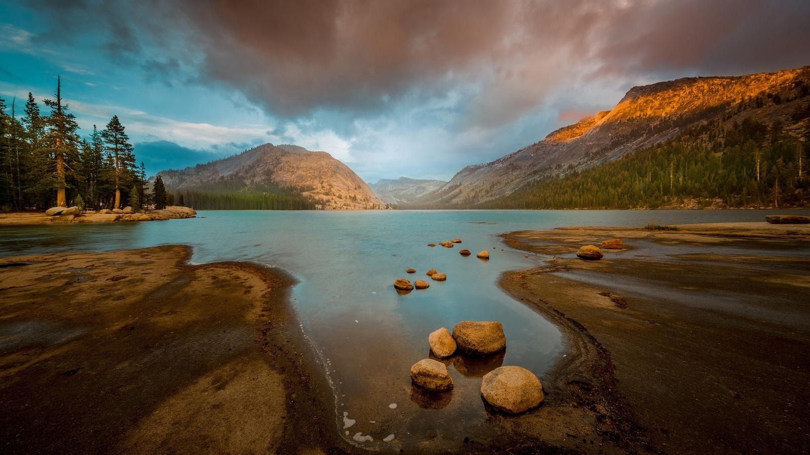 природа, горы, озеро