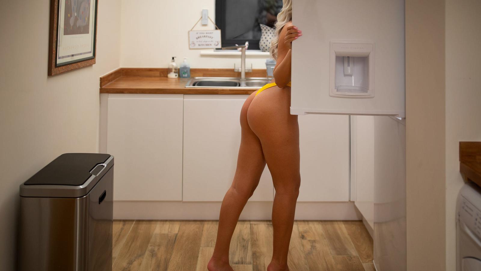 women, ass, brunette, blonde, fridge, kitchen, women indoors, pink nails, yellow panties