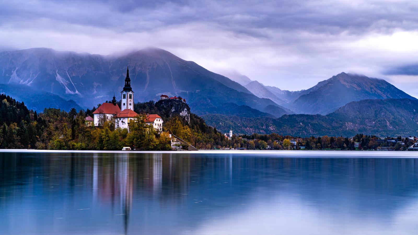 словения, озеро, горы, побережье, дома, lake bled, природа