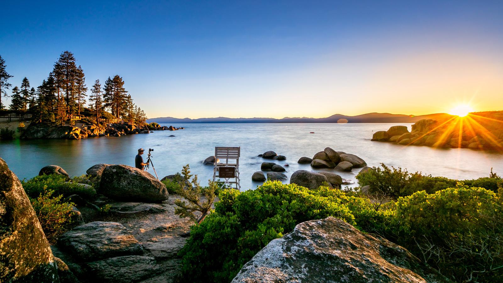 солнце, лучи, деревья, пейзаж, закат, горы, природа, озеро, камни, фотограф, сша, тахо, lake tahoe