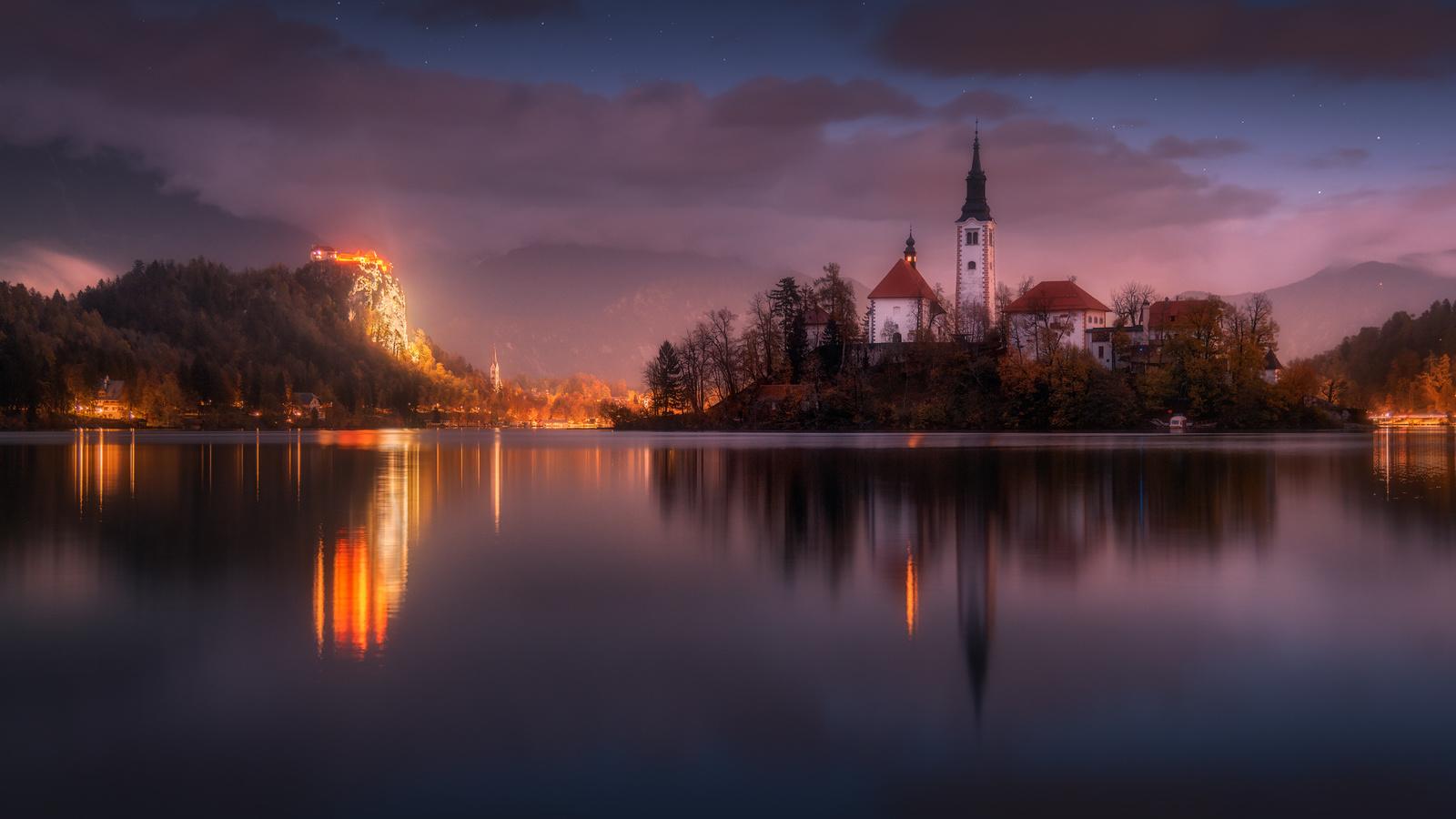 словения, природа, пейзаж, горы, озеро, блед, островок, бледское озеро, церковь, ночь, освещение