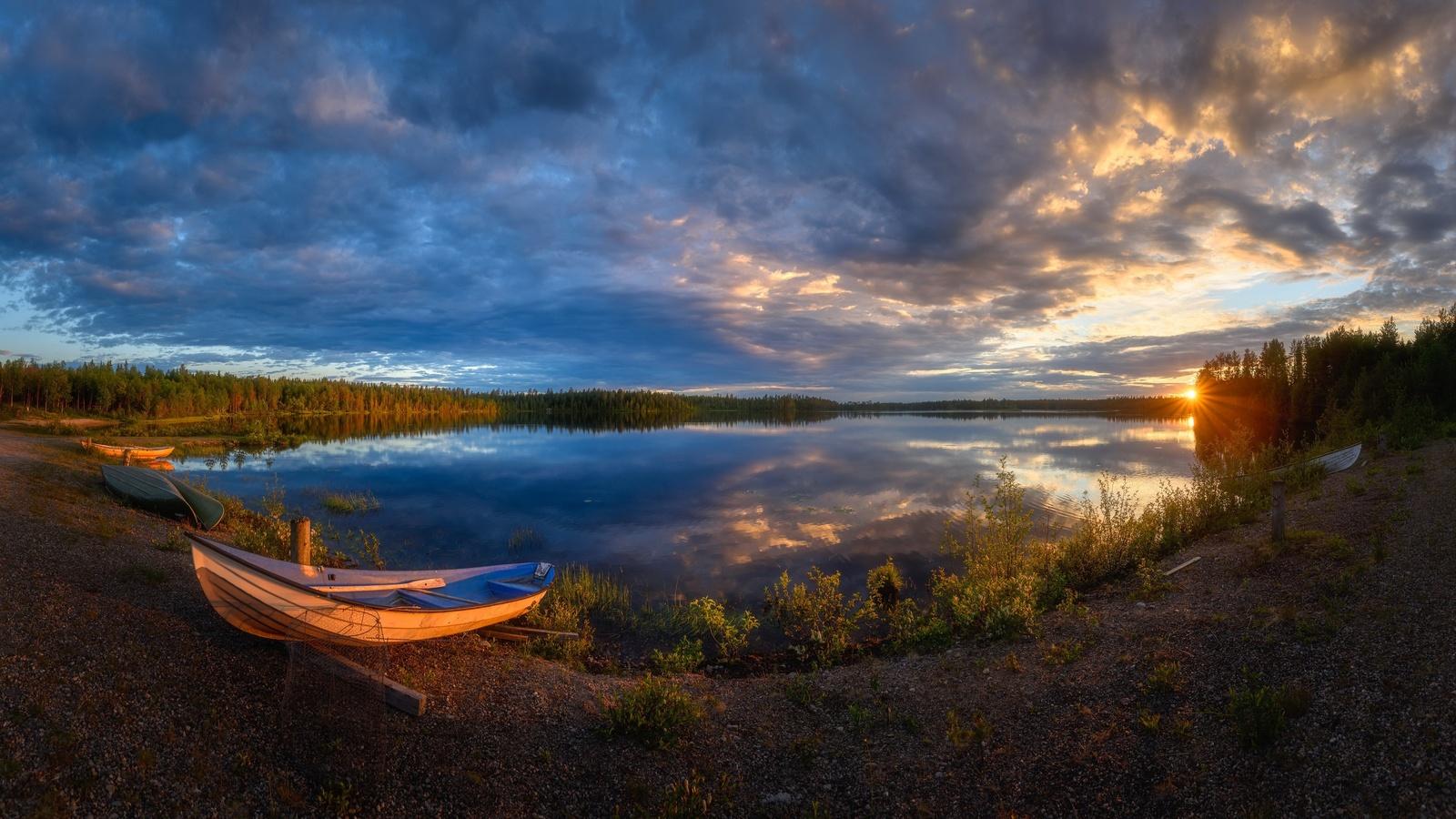 озеро, лодки, закат, облака