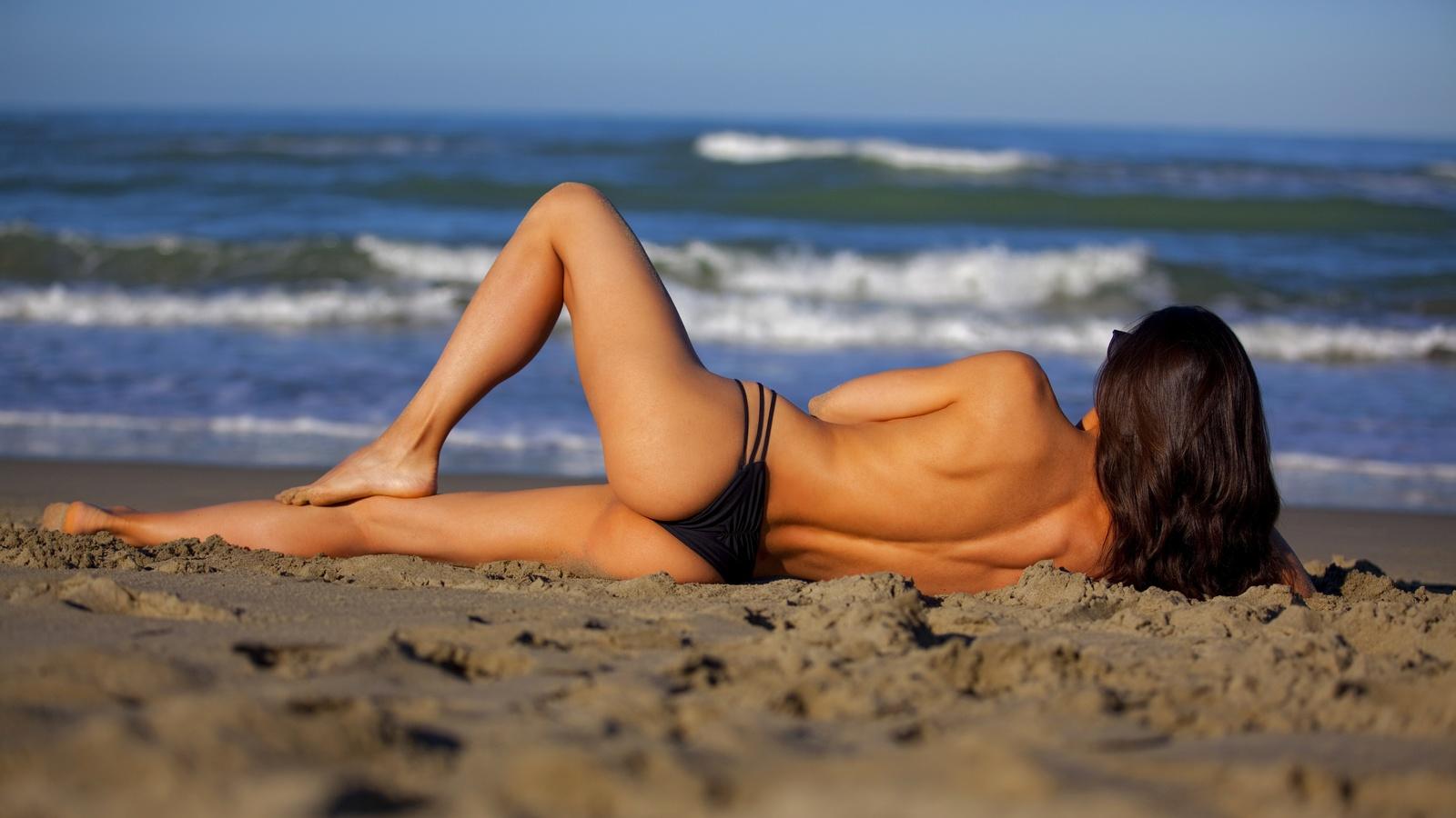 девушка, берег, море, песок