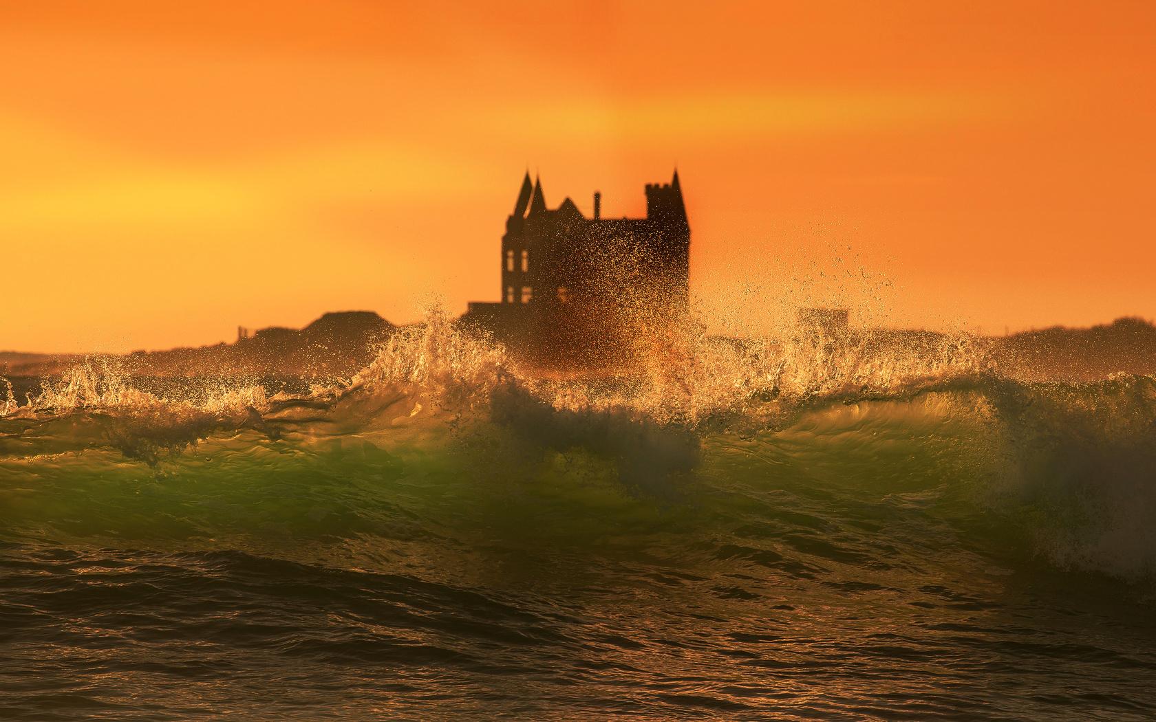 прибой, волна, замок