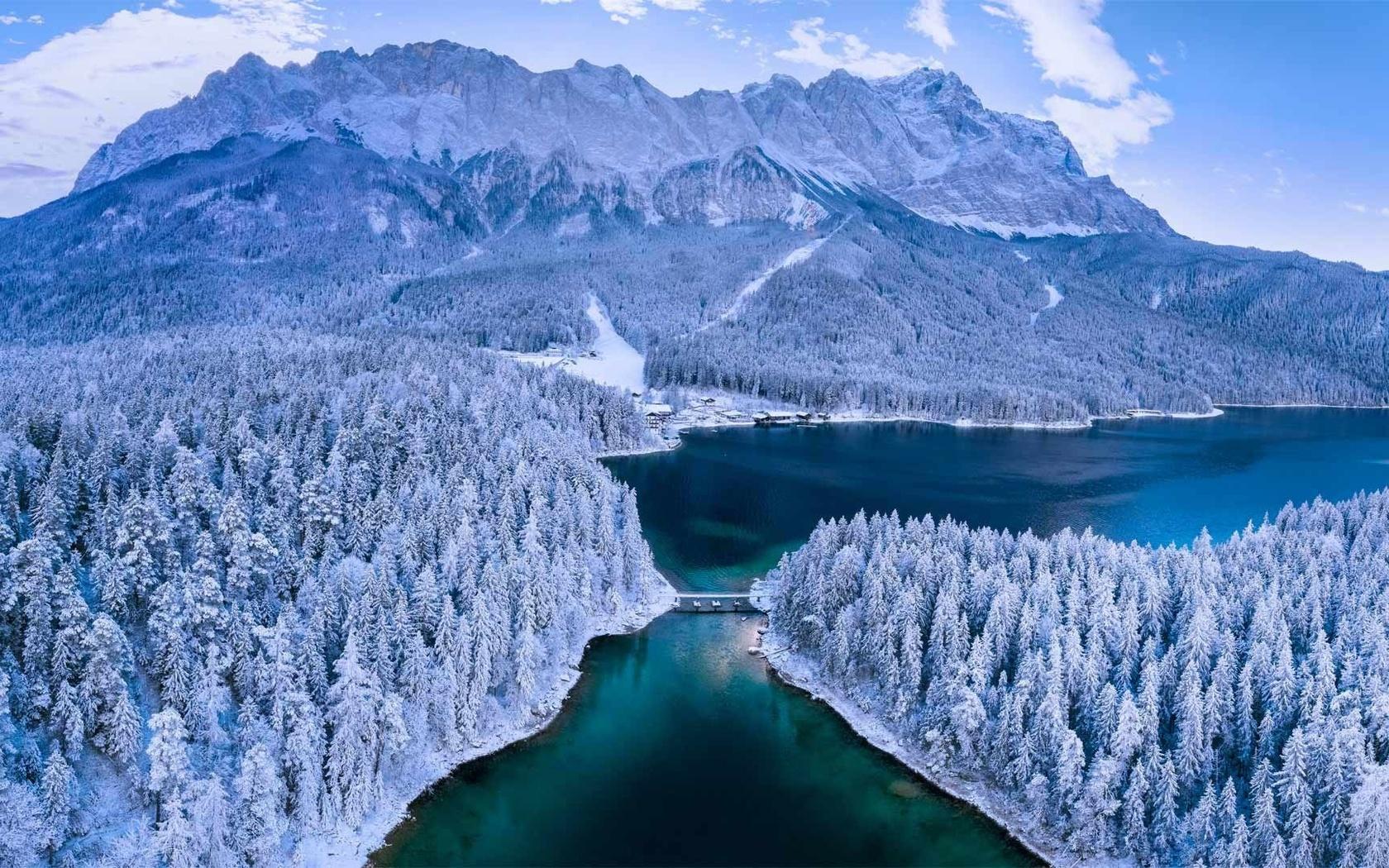 гора, лес, озеро, снег, германия