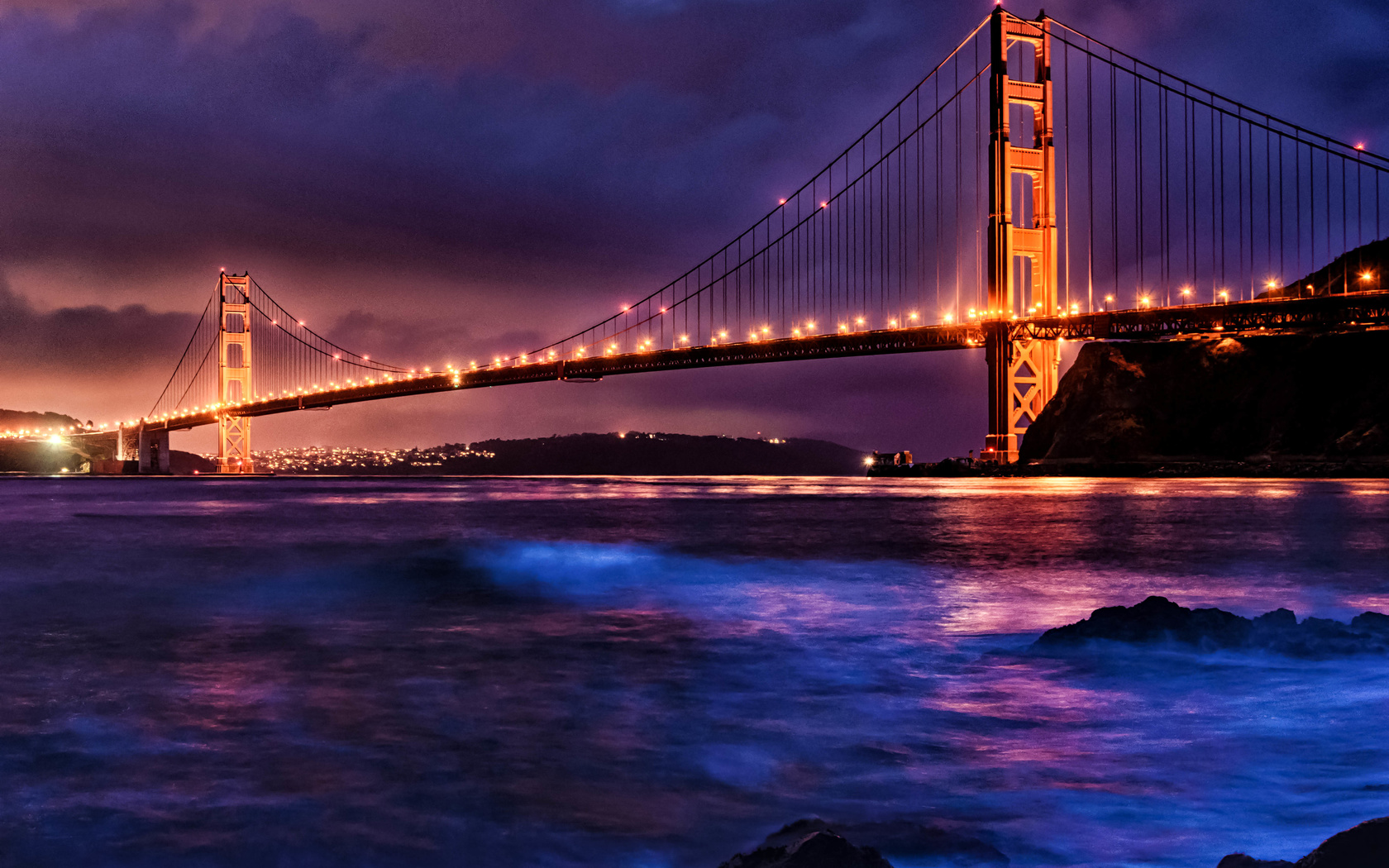 пейзаж, горы, ночь, мост, пролив, освещение, калифорния, сан-франциско, золотые ворота, сша, golden gate bridge, san francisco