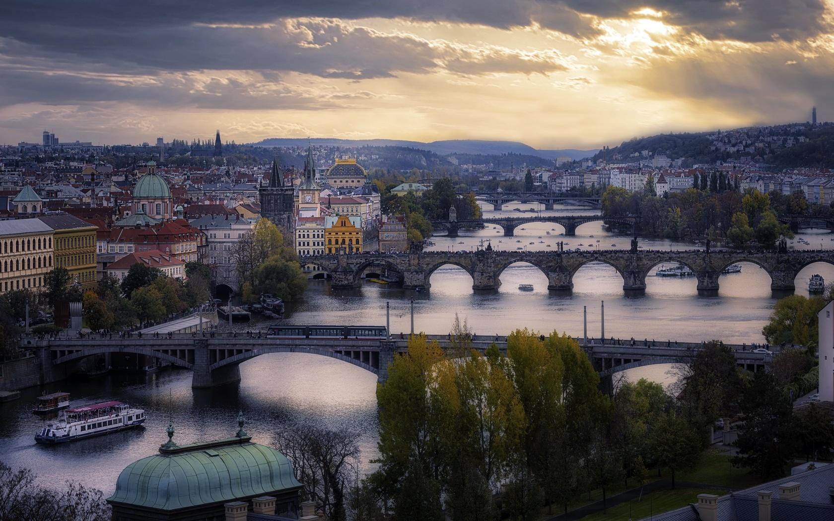 Чехия, прага, река, мост, дома, город