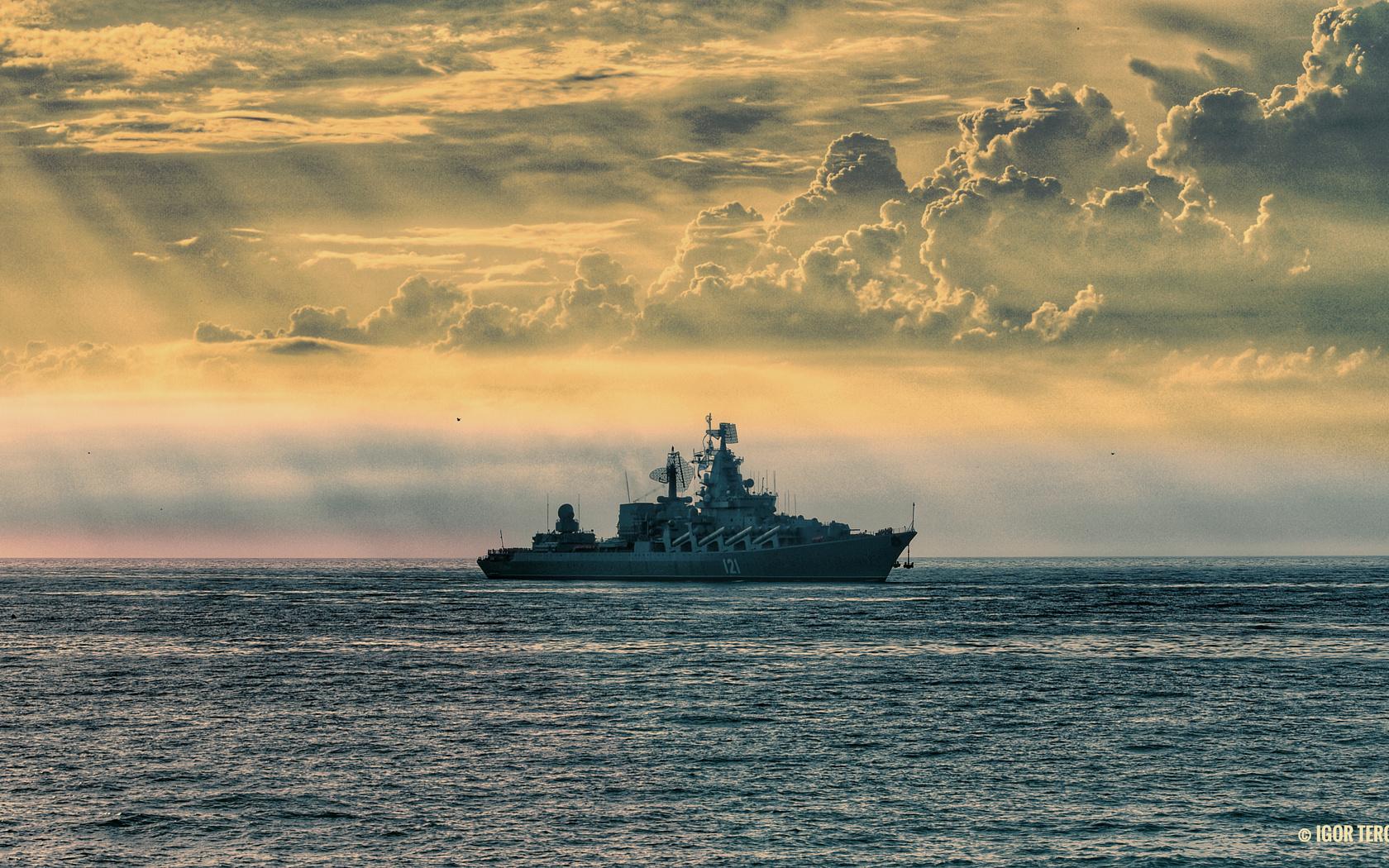 крейсер, море, вечер