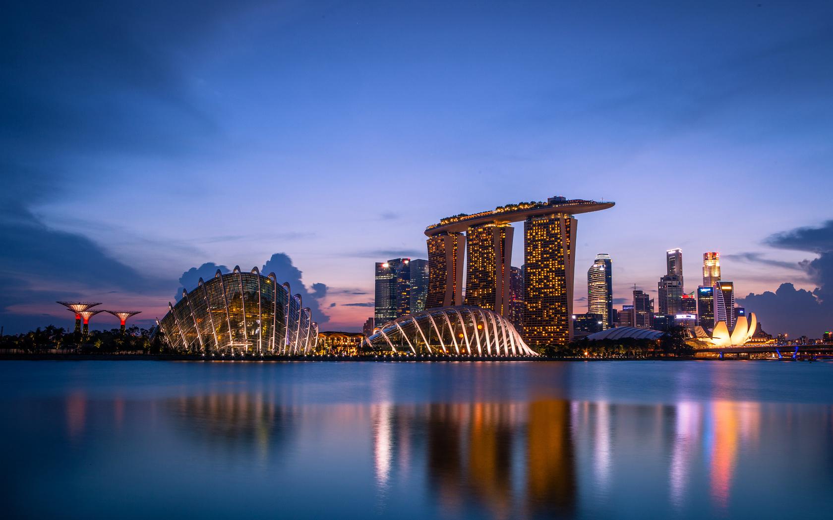 marina bay sands, архитектура, singapore, вечер, город