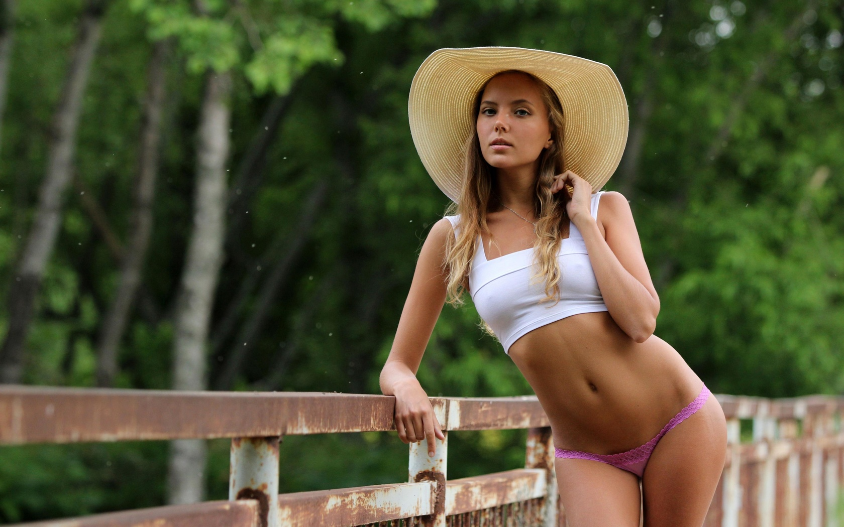 katya clover, clover, mango, caramel, auburn, panties, top, hat, outdoors, tanned, ass, hi-q