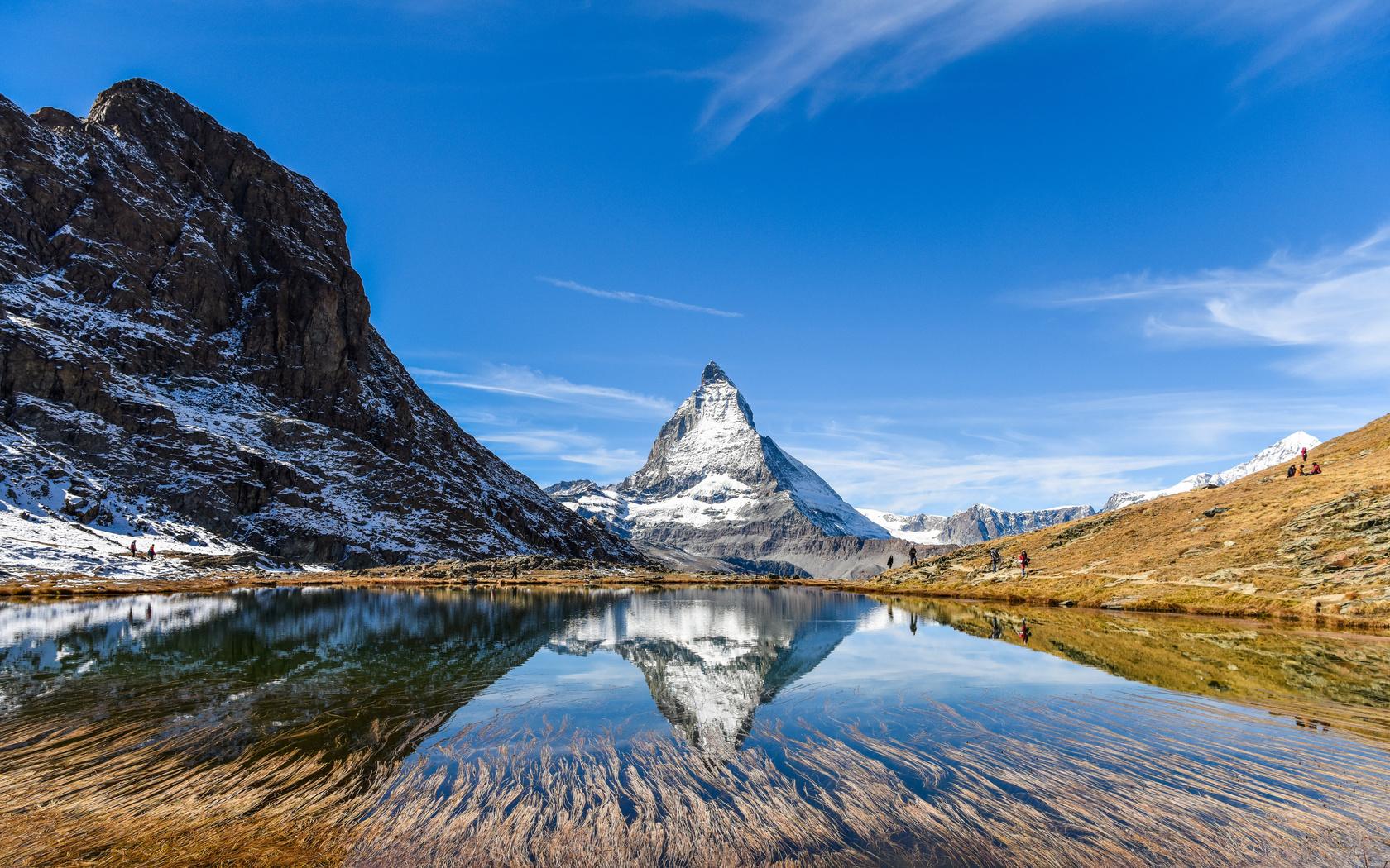 швейцария, горы, озеро, небо, скала, природа