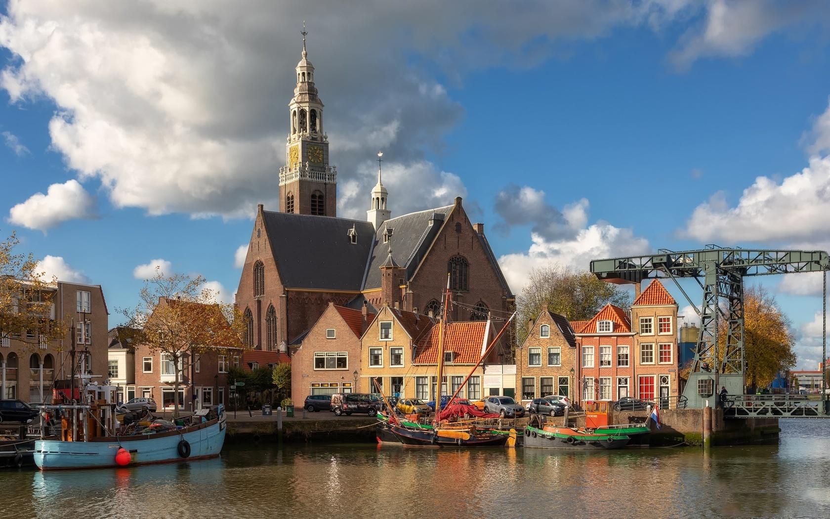 голландия, город, дома, нидерланды, гавань, масслёйс, лодки, облака