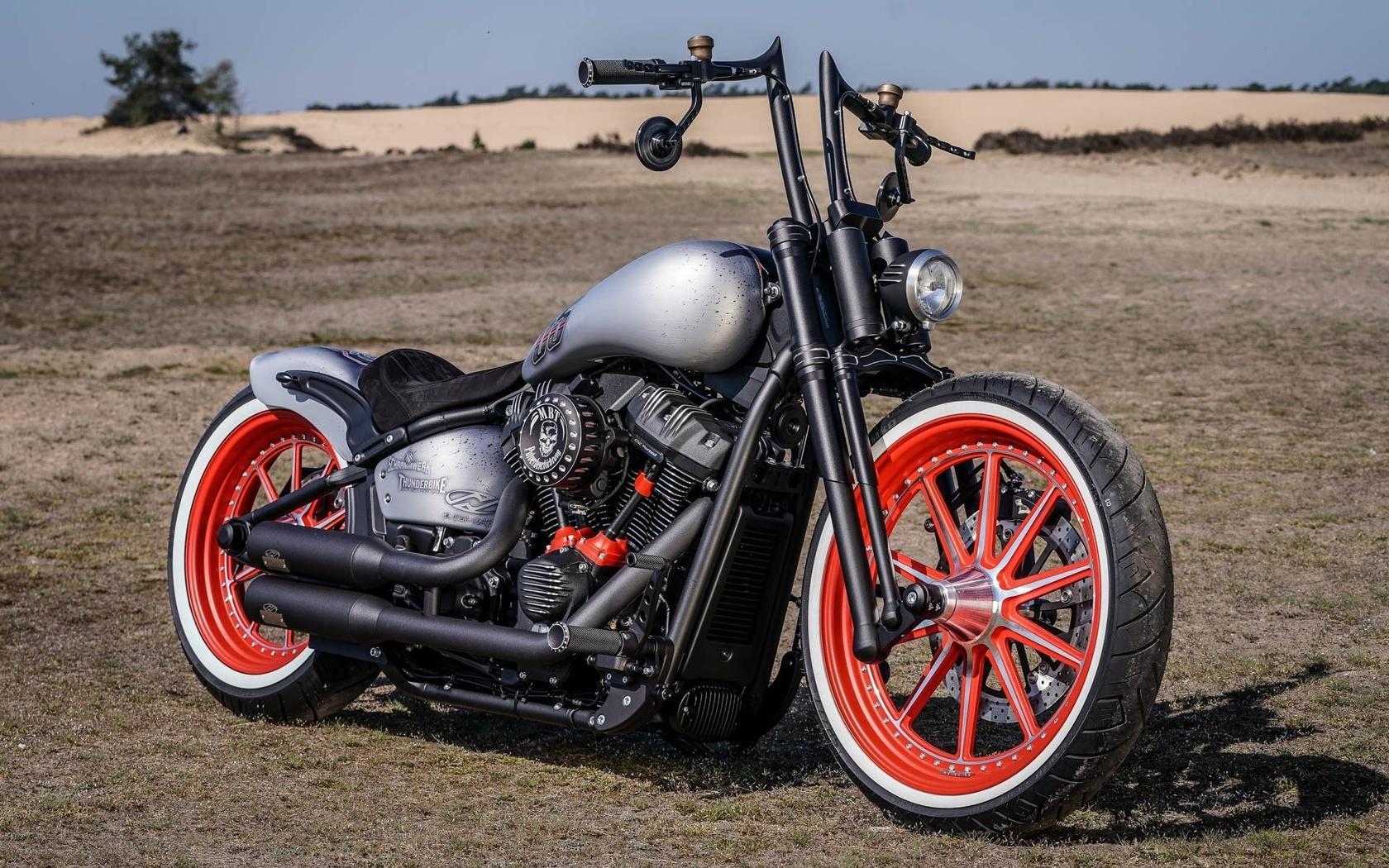 harley davidson, custom, thunderbike, red, wheel, mbt, street, bob