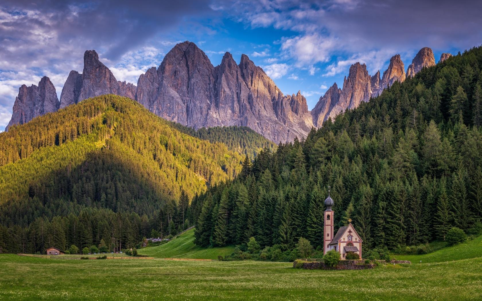 горы, лес, церковь, италия, dolomites, santa maddalena, альпы, природа