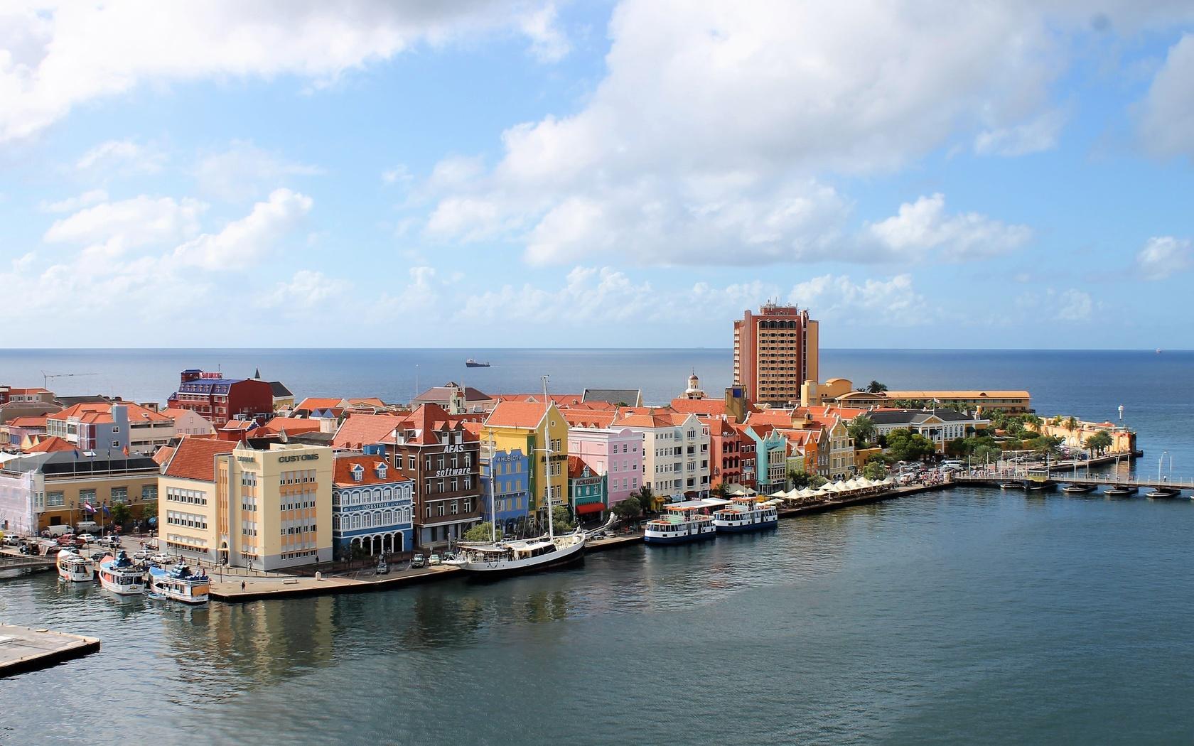 кюрасао, остров, город, океан, карибы