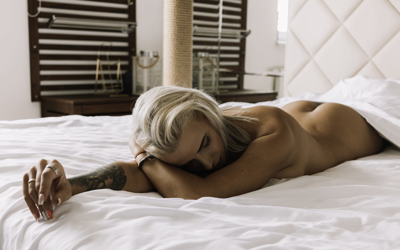 girl, sexy, women, beautiful, woman, bed, cute, hot, pretty, tattoo, blonde, window, earrings, ring, ass, boobs, relax