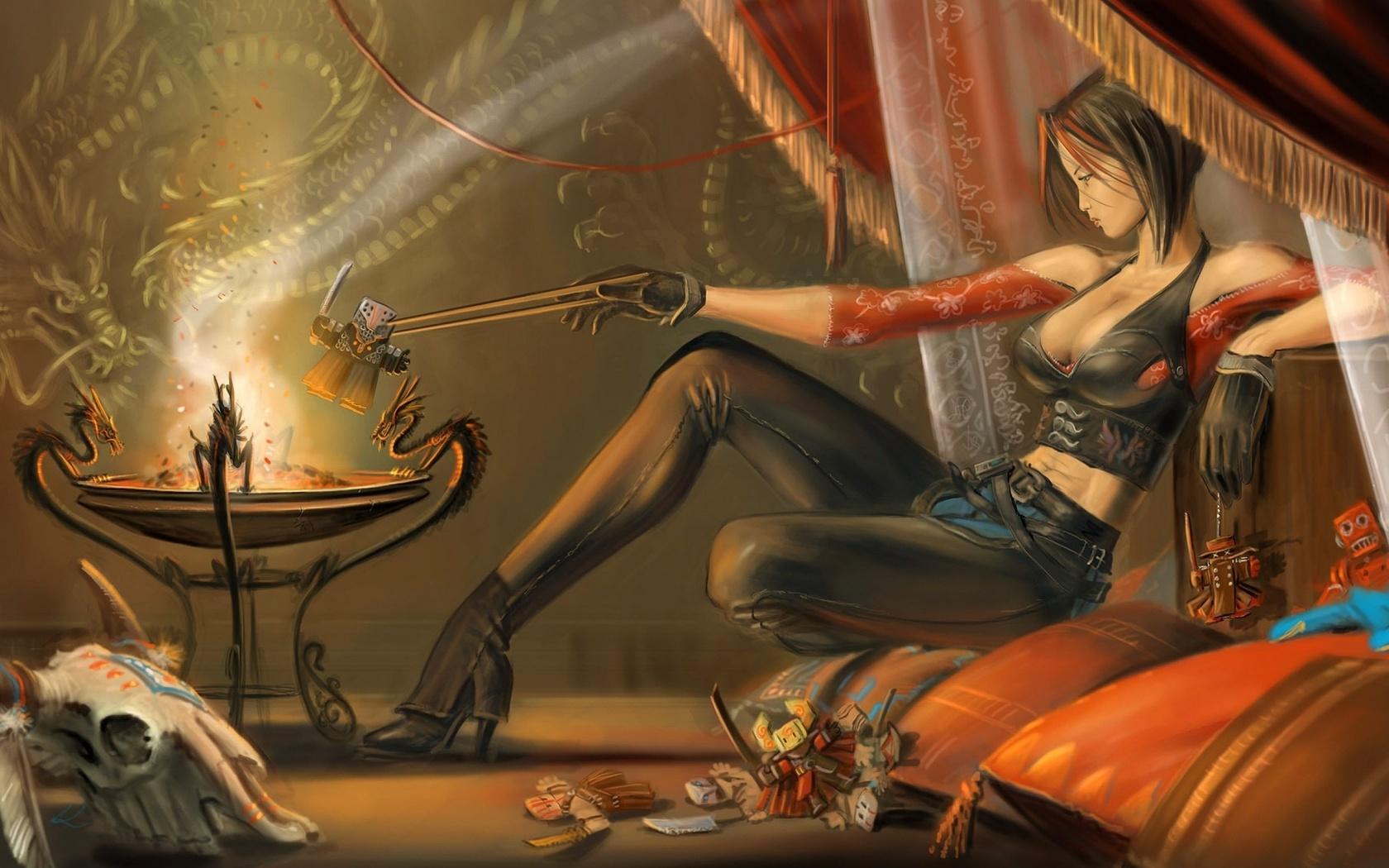 fantasy women, sitting, gloves, short hair, artwork