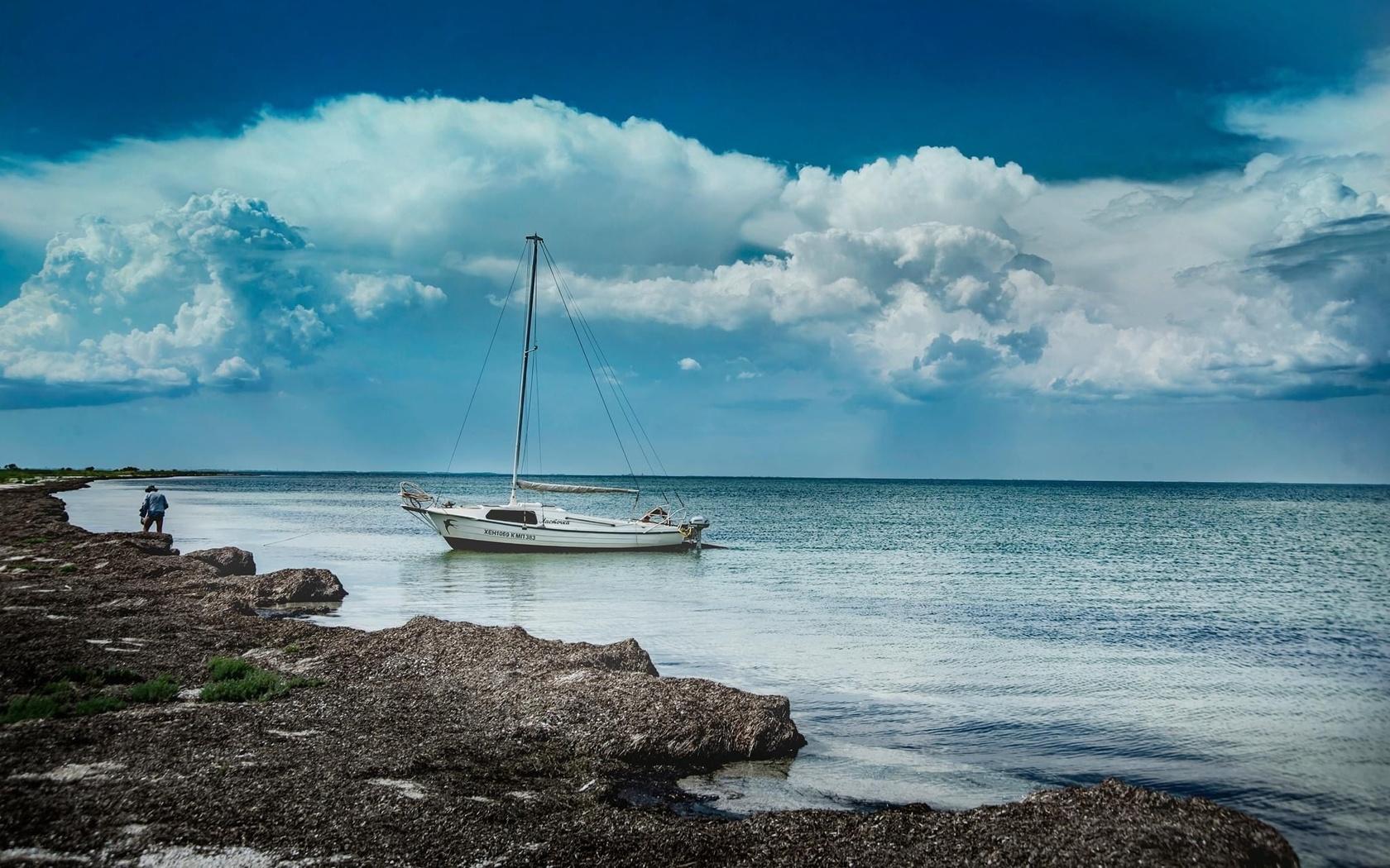 остров, лодка, море, небо