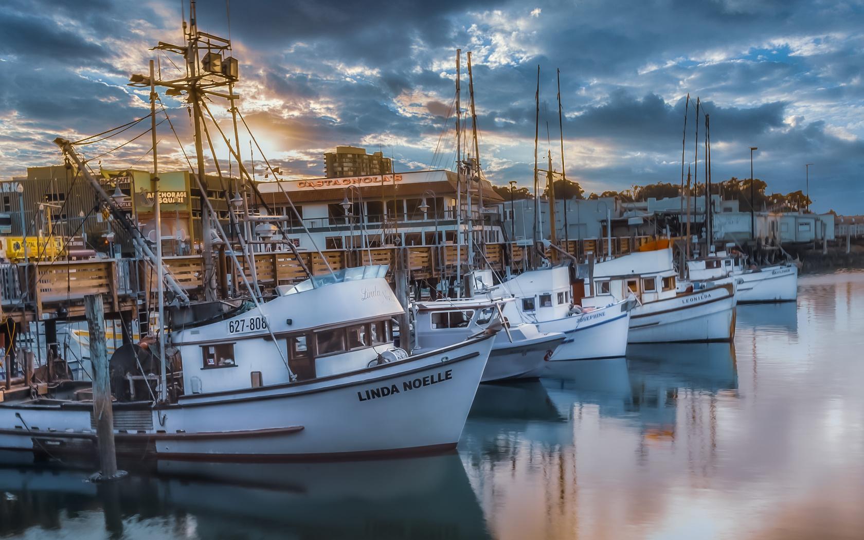 вода, тучи, лодки, причал, сан-франциско, сша