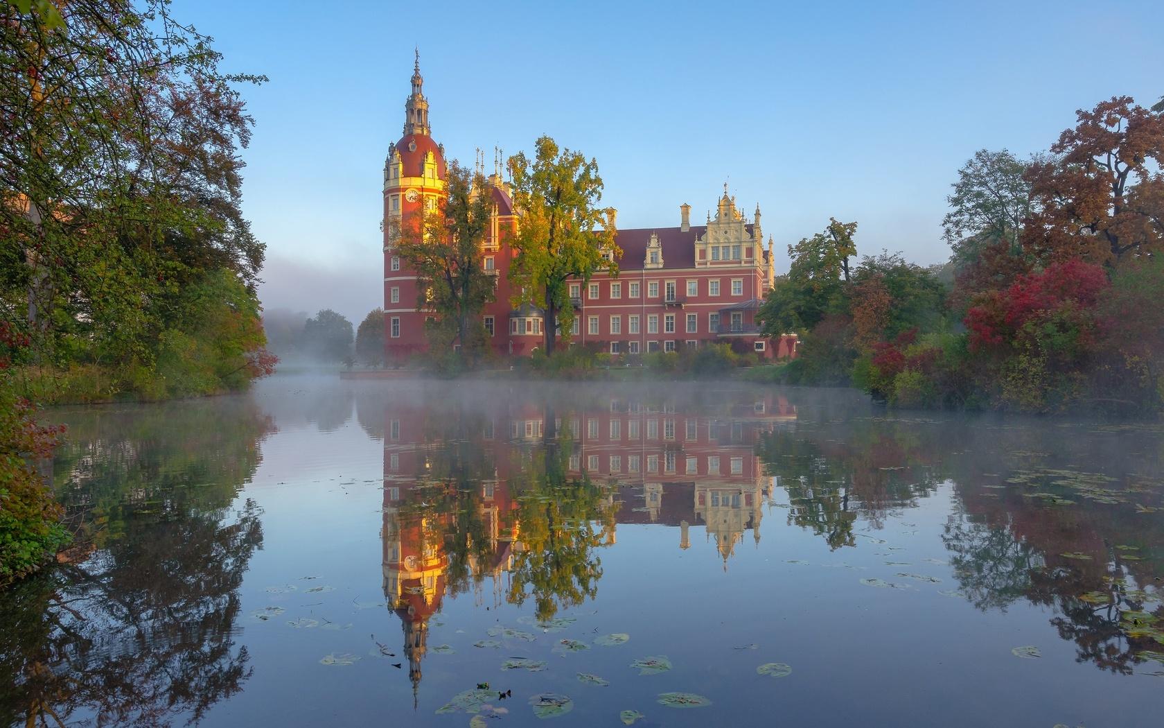 парк, отражение, река, замок, утро, германия, germany, саксония, saxony, muskau park, schloss muskau, lusatian neisse river
