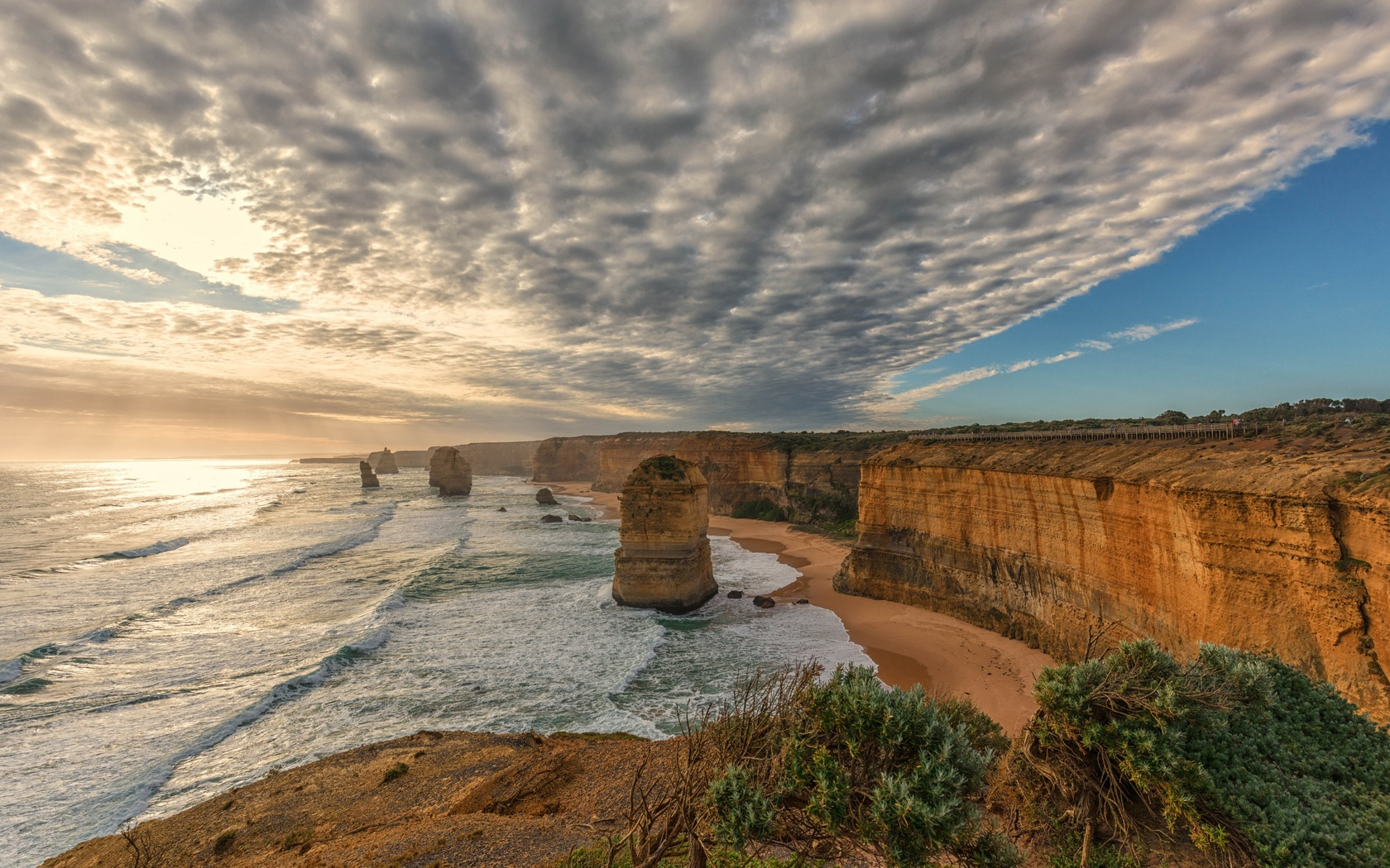 небо, облака, океан, скалы, побережье, виктория, австралия, australia, victoria, port campbell national park, twelve apostl