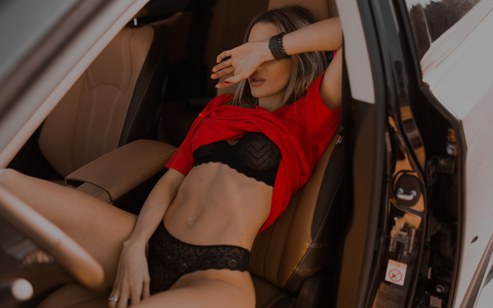 women, alexander belavin, sitting, red nails, belly, black lingerie, women with cars, car, brunette, red t-shirt, watch