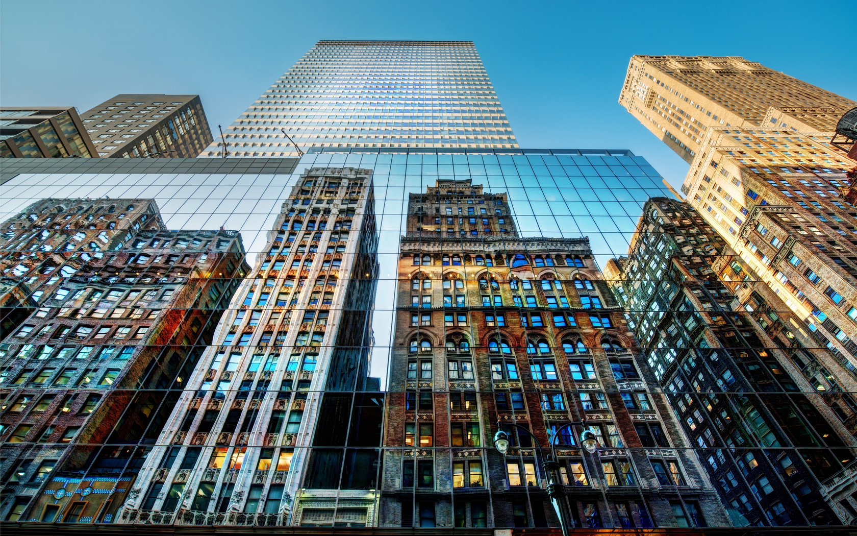 город, здания, небоскребы, отражения