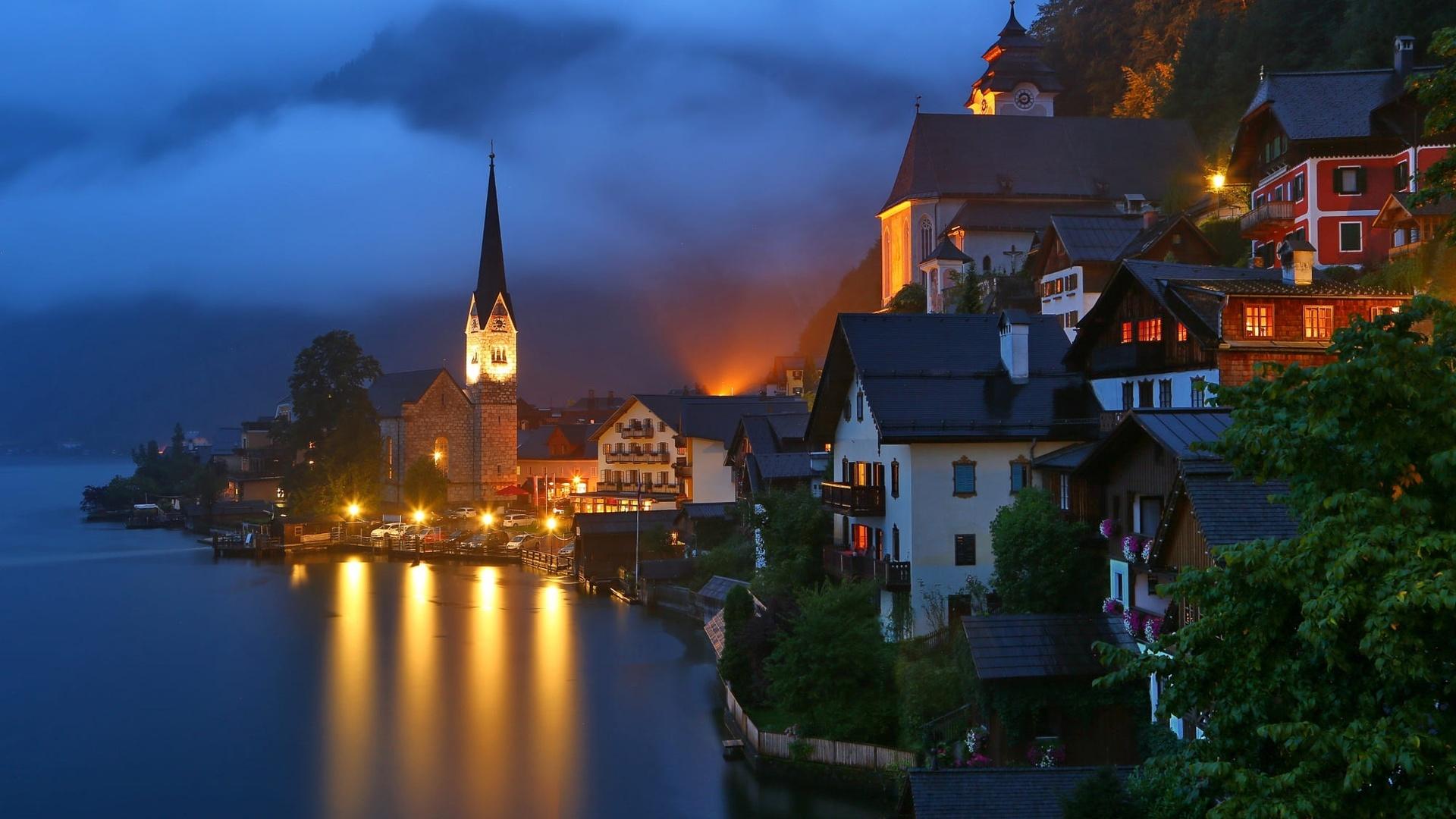 hallstatt, austria, гальштат, австрия, горы, городок