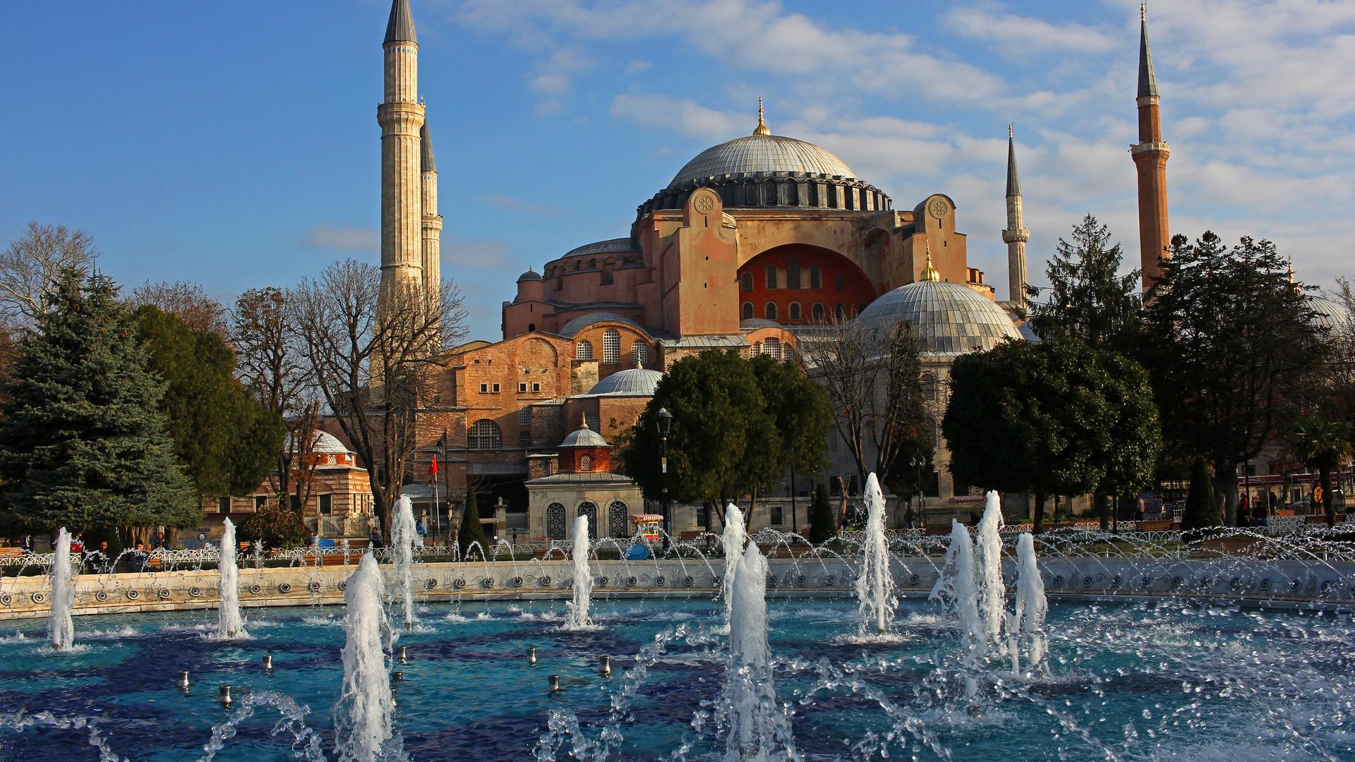 город, собор, башни, фонтан, архитектура, стамбул, турция, собор святой софии, айя-софия